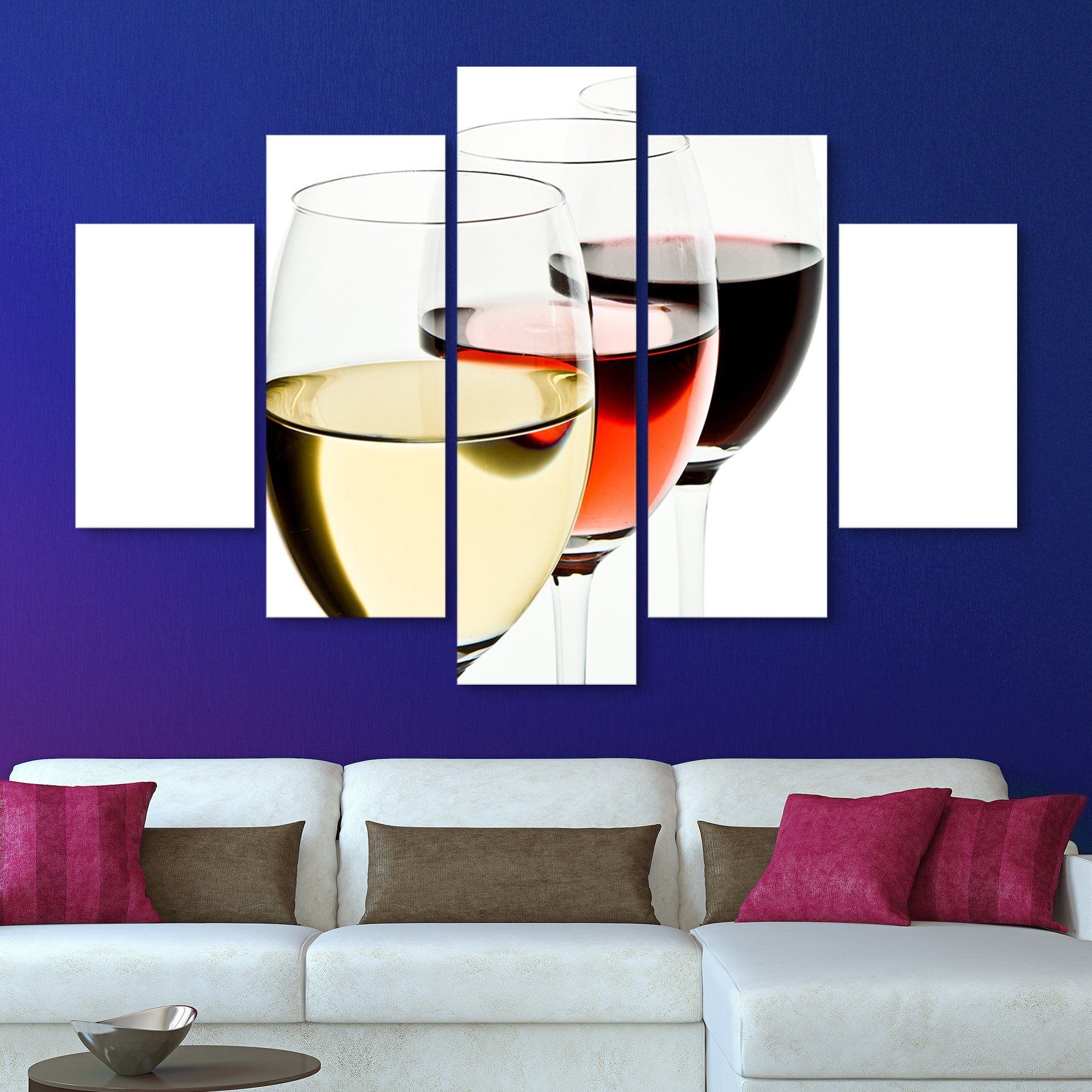 5 piece White, Rose, Red Wine wall art