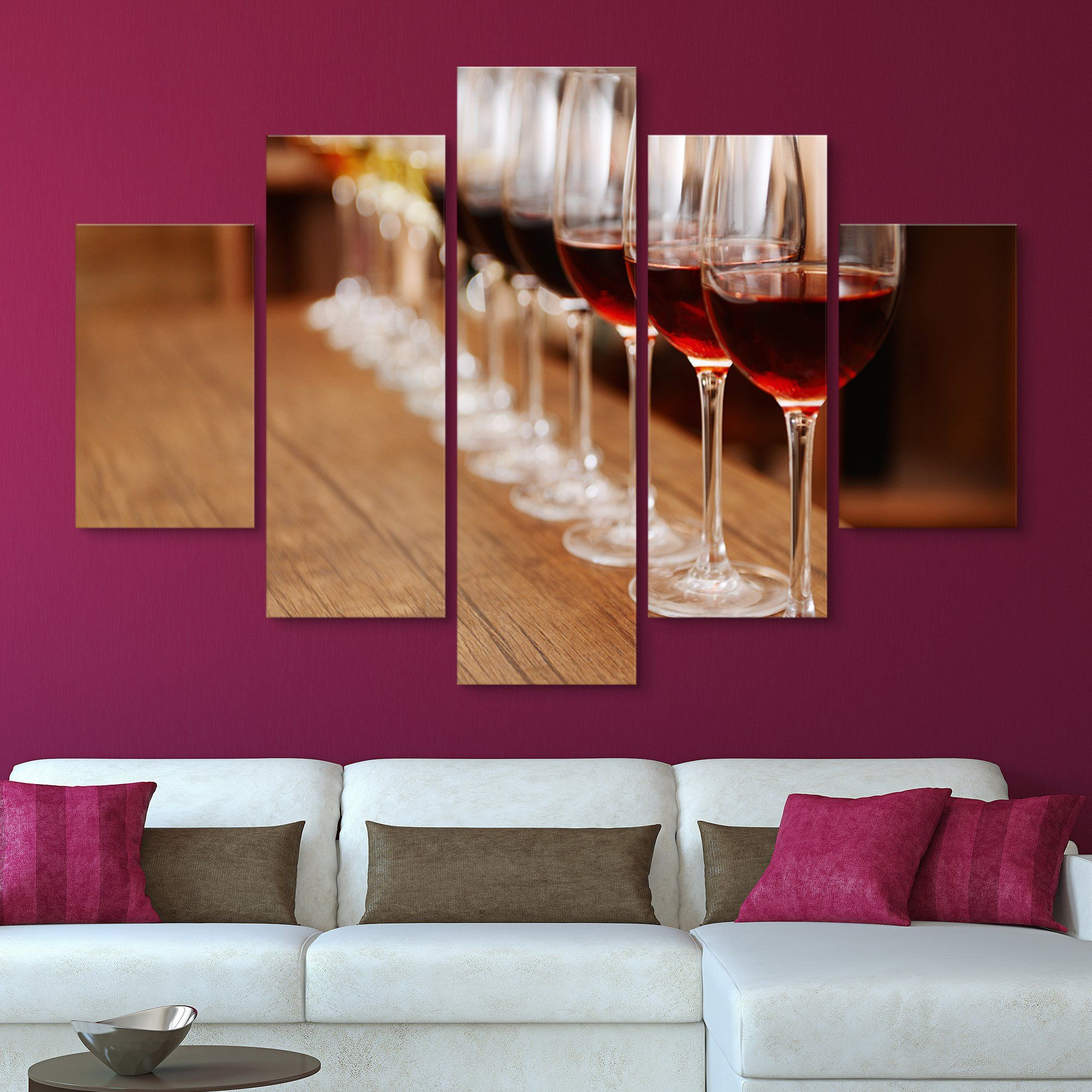 5 piece Wine in a Row wall art