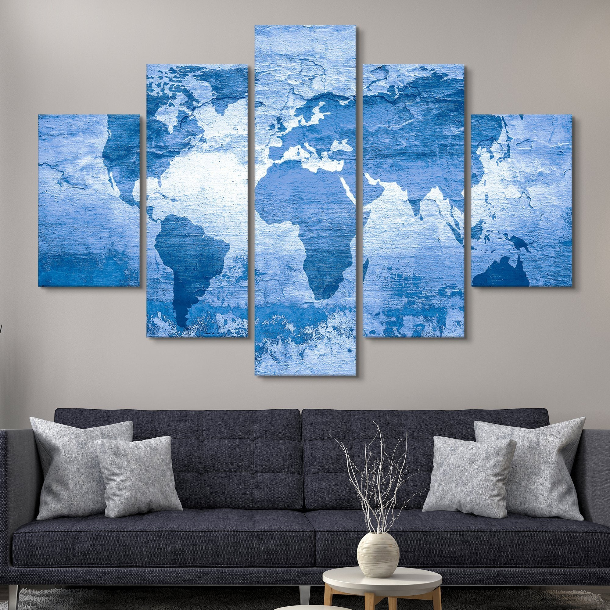 5 piece world map wall art