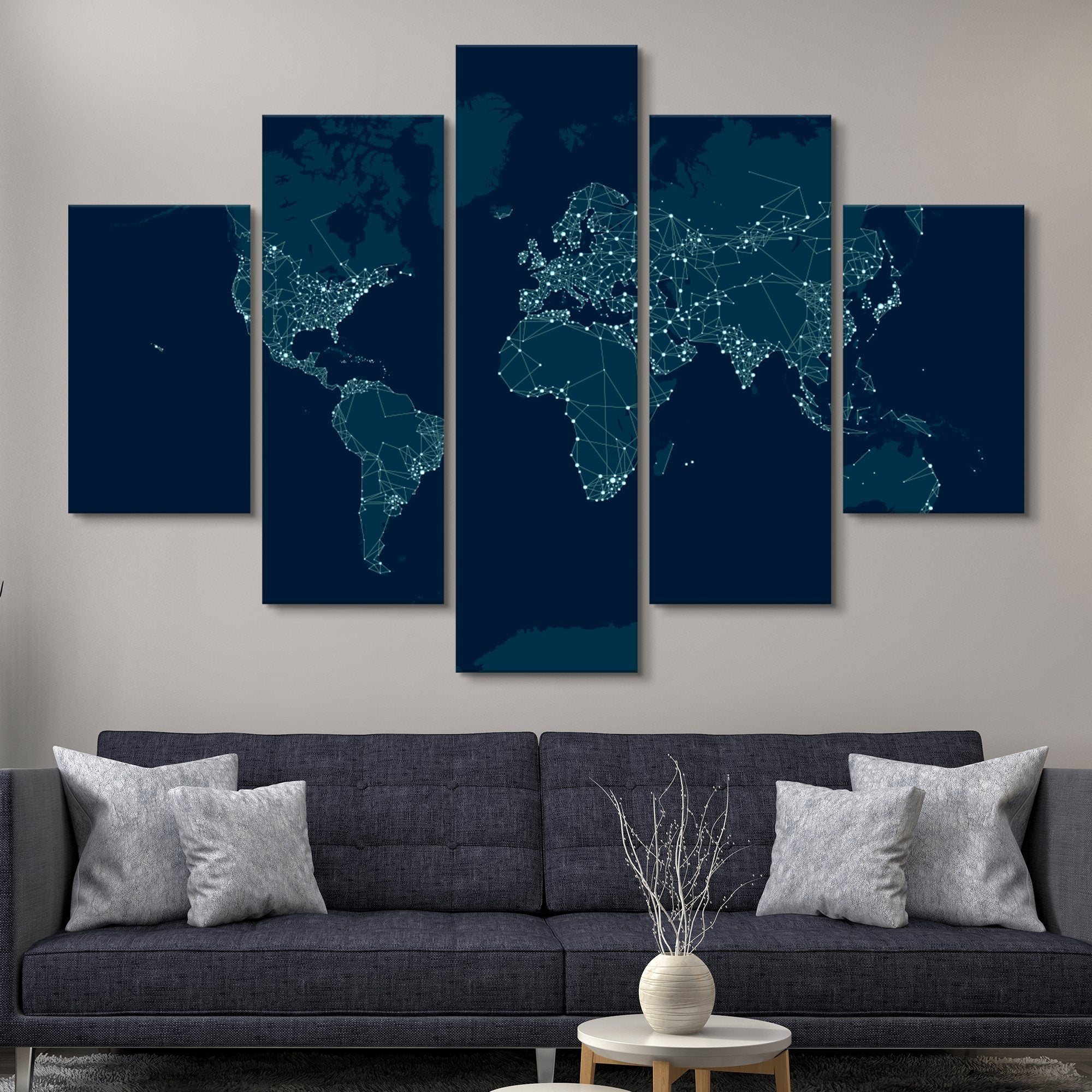 5 piece city lights world map home art