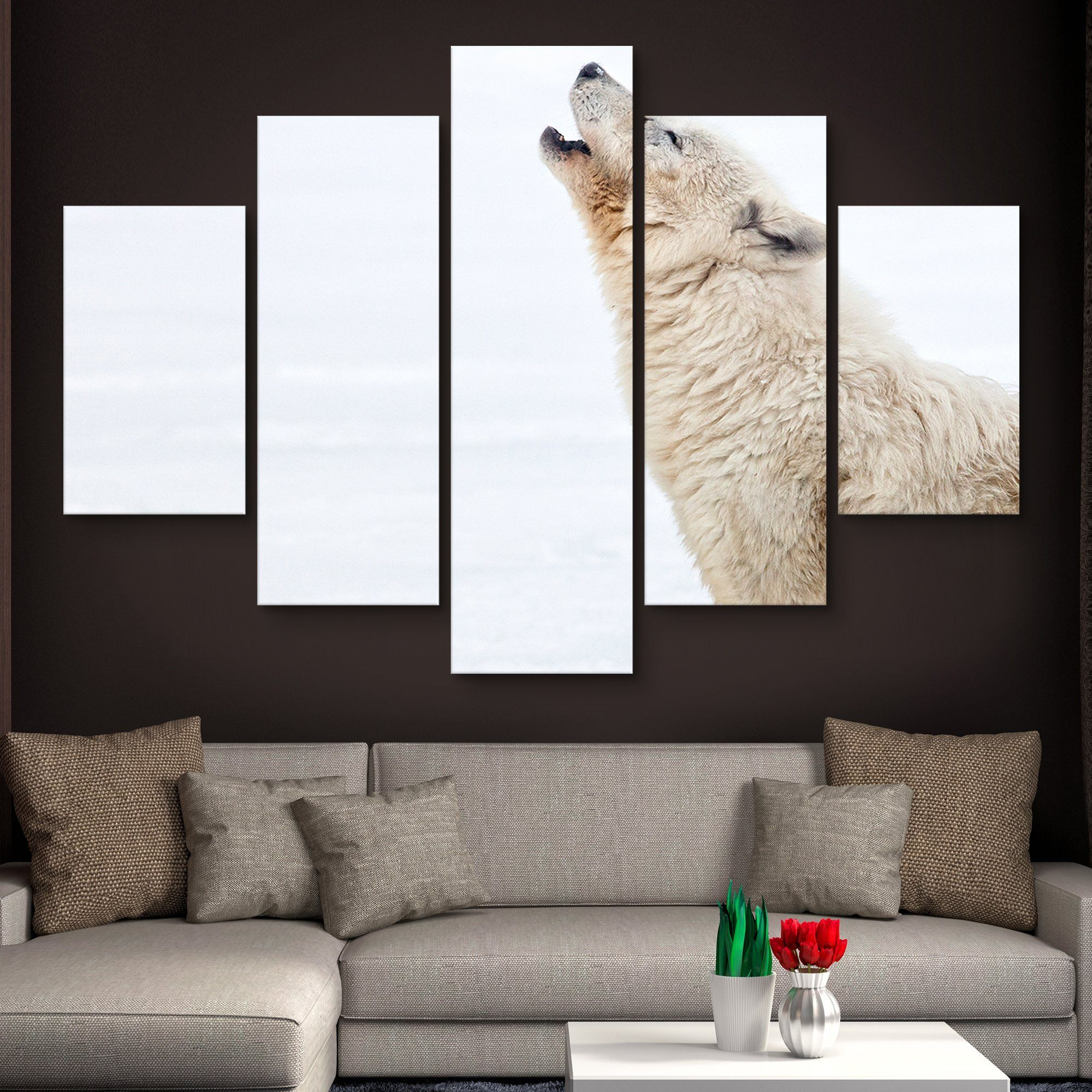 5 piece Arctic Wolf Howling wall art