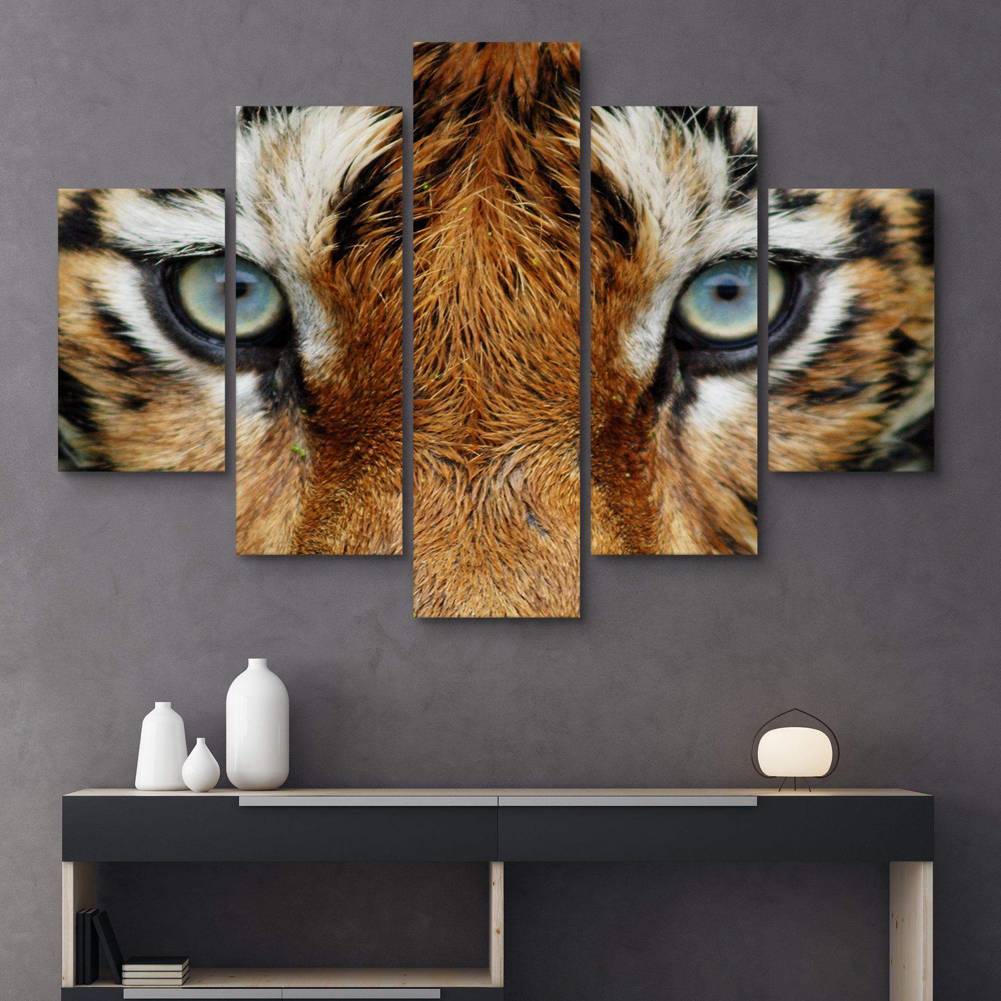 5 piece Tiger Eyes wall art