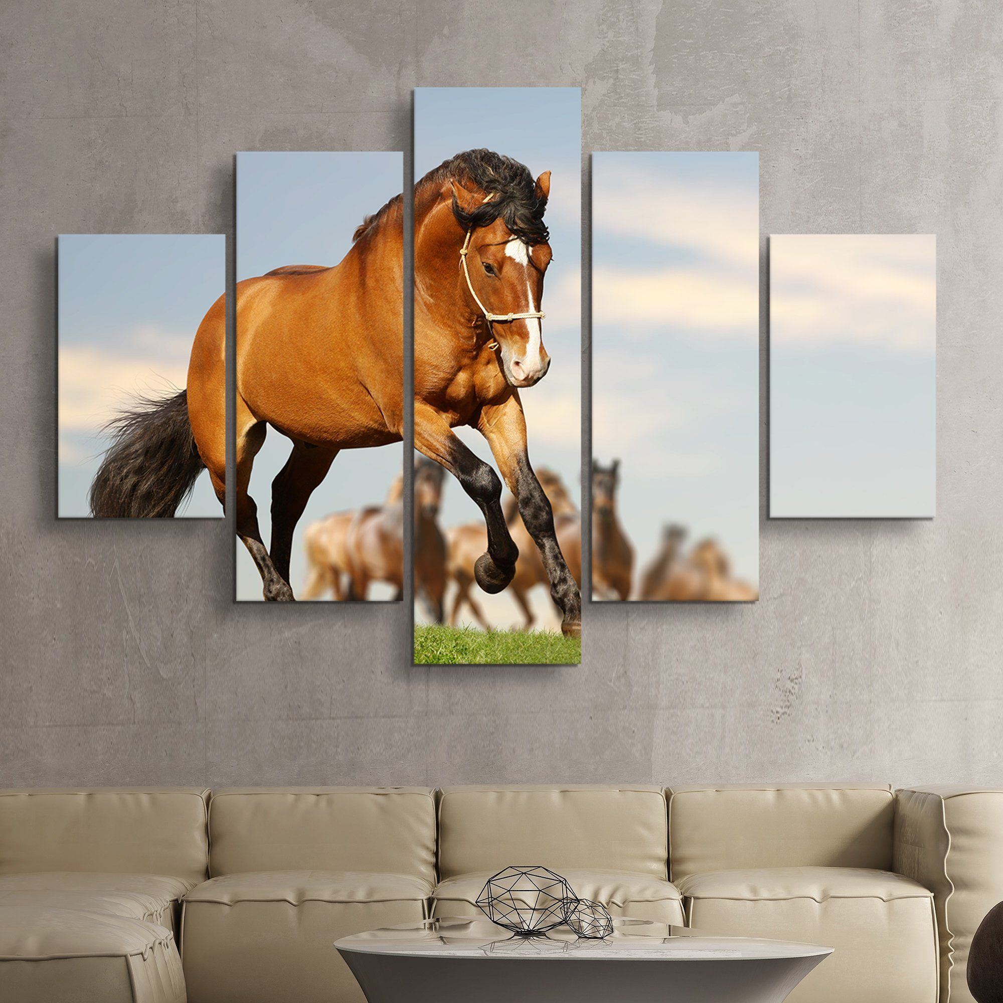 5 piece Stallion with the Herd wall art