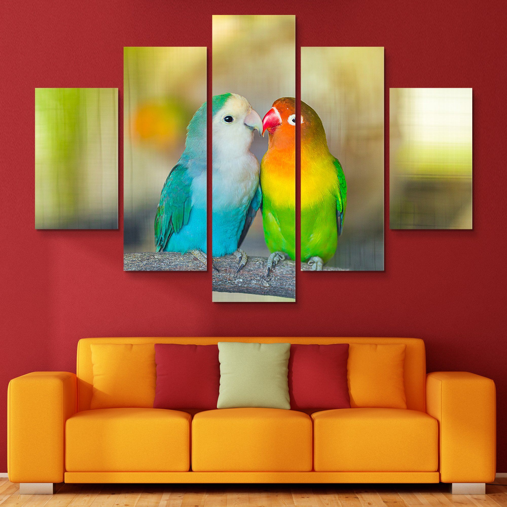 5 piece Love Birds wall art