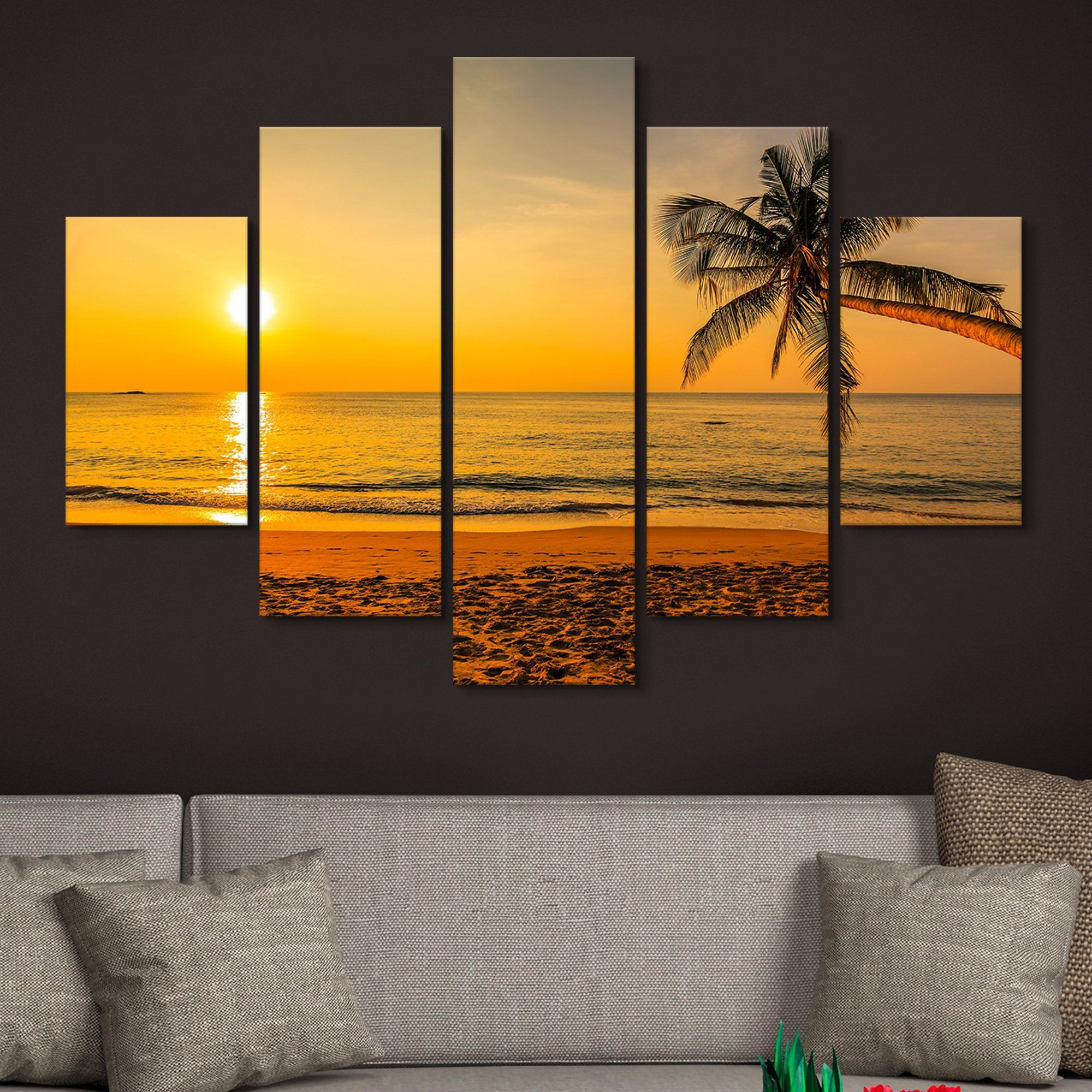 5 piece Sunset by the Beach wall art
