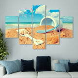 5 piece Playing with Beach Sand wall art