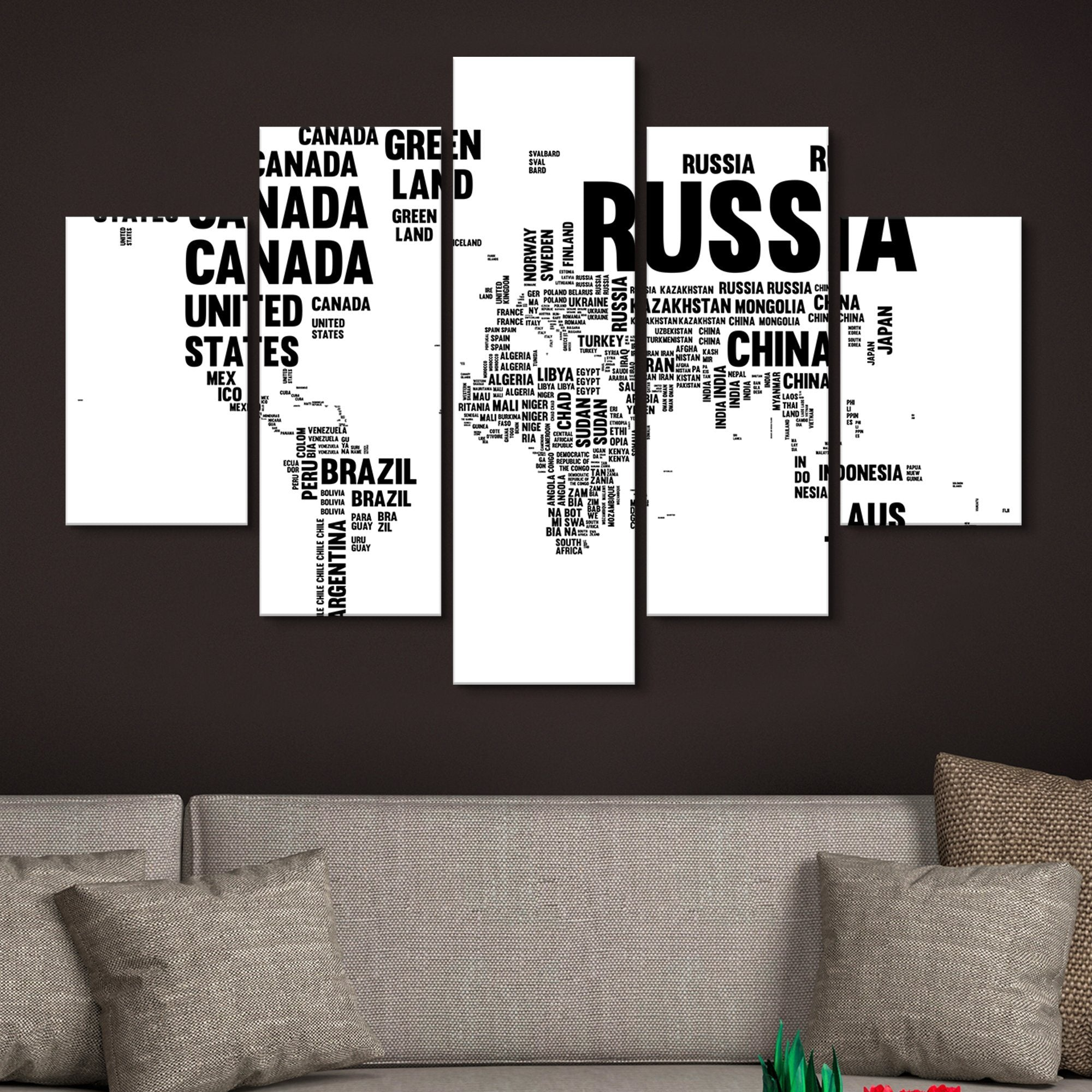 5 piece Typography World Map wall art