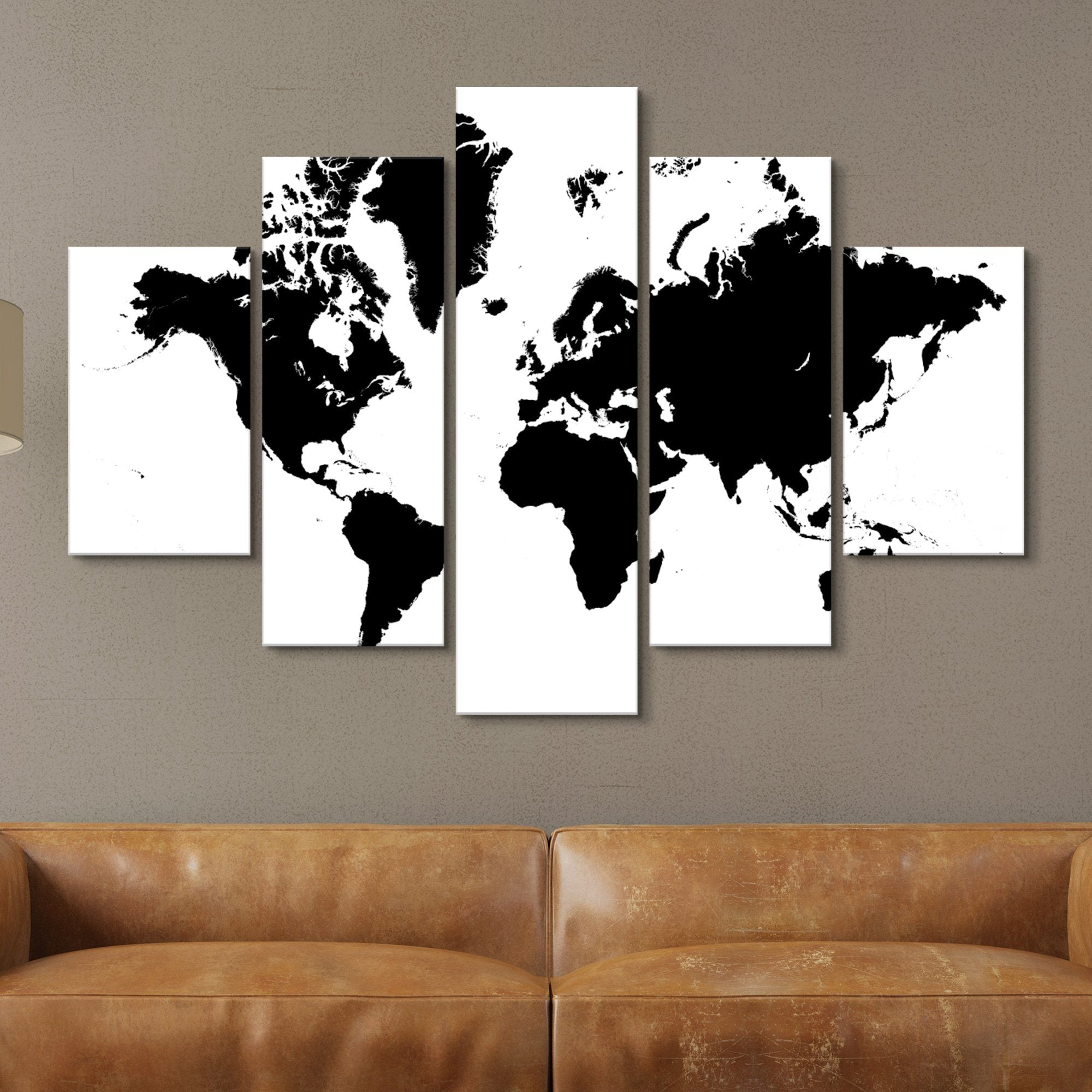 5 piece black and white world map wall art
