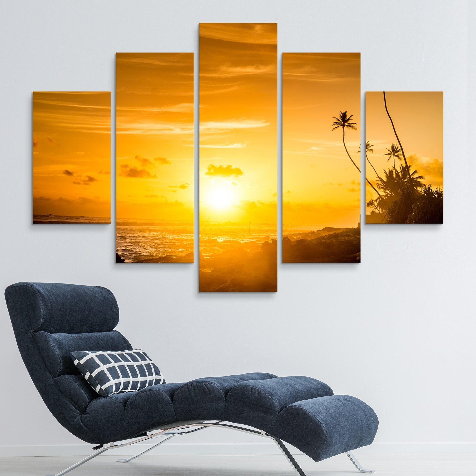 5 piece Sunset by the sea wall art
