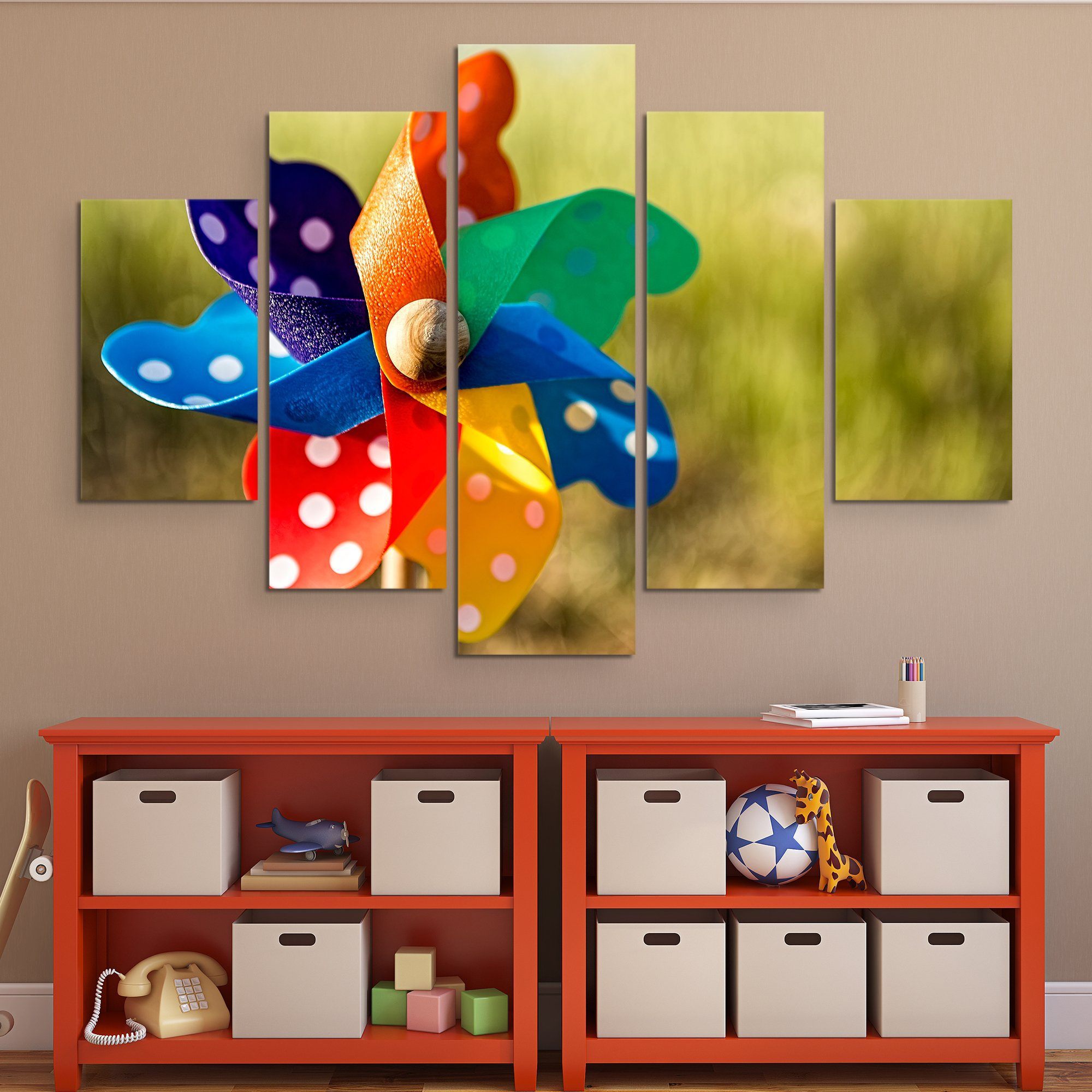 5 piece Pinwheel wall art