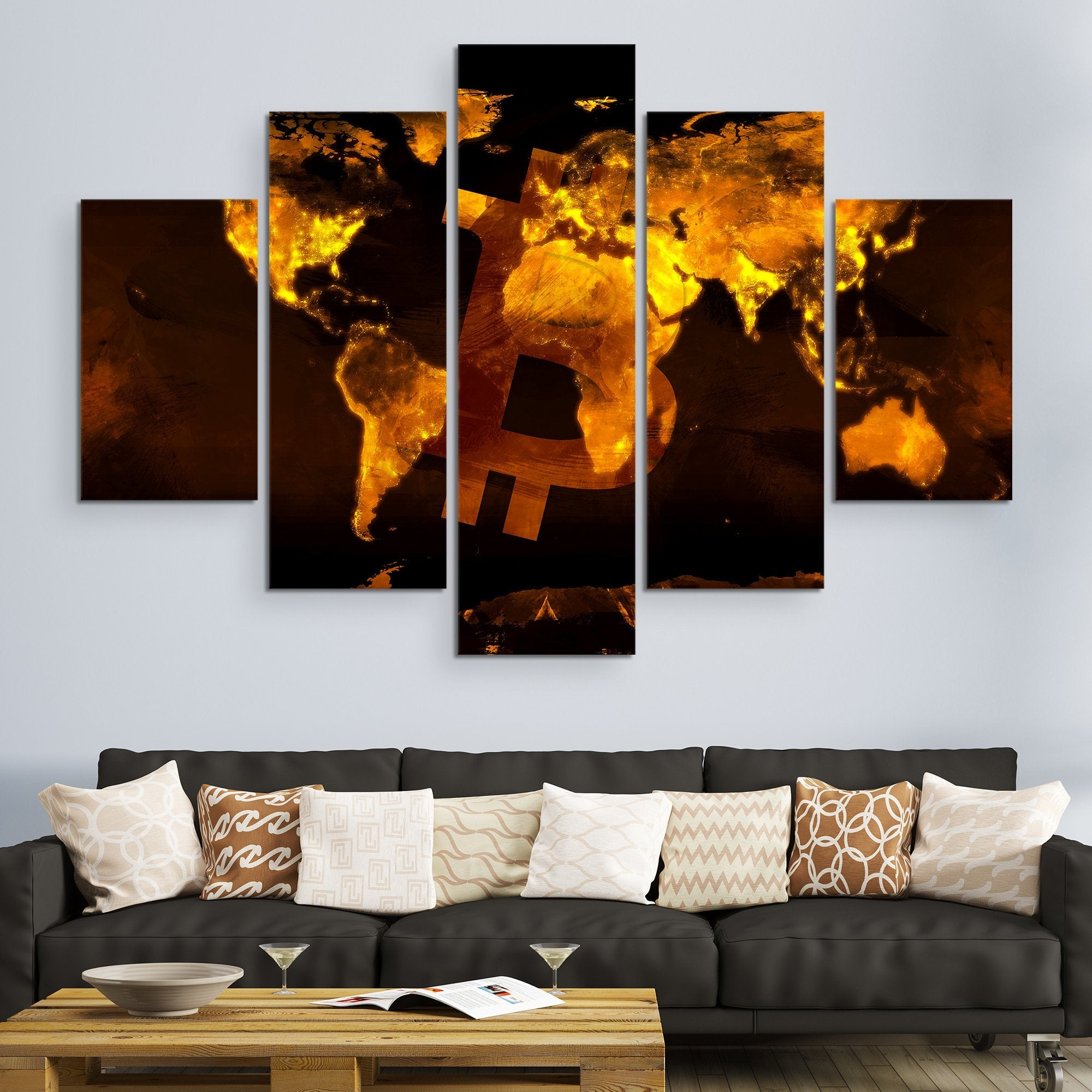 5 piece Bitcoin Black Marble Series wall art