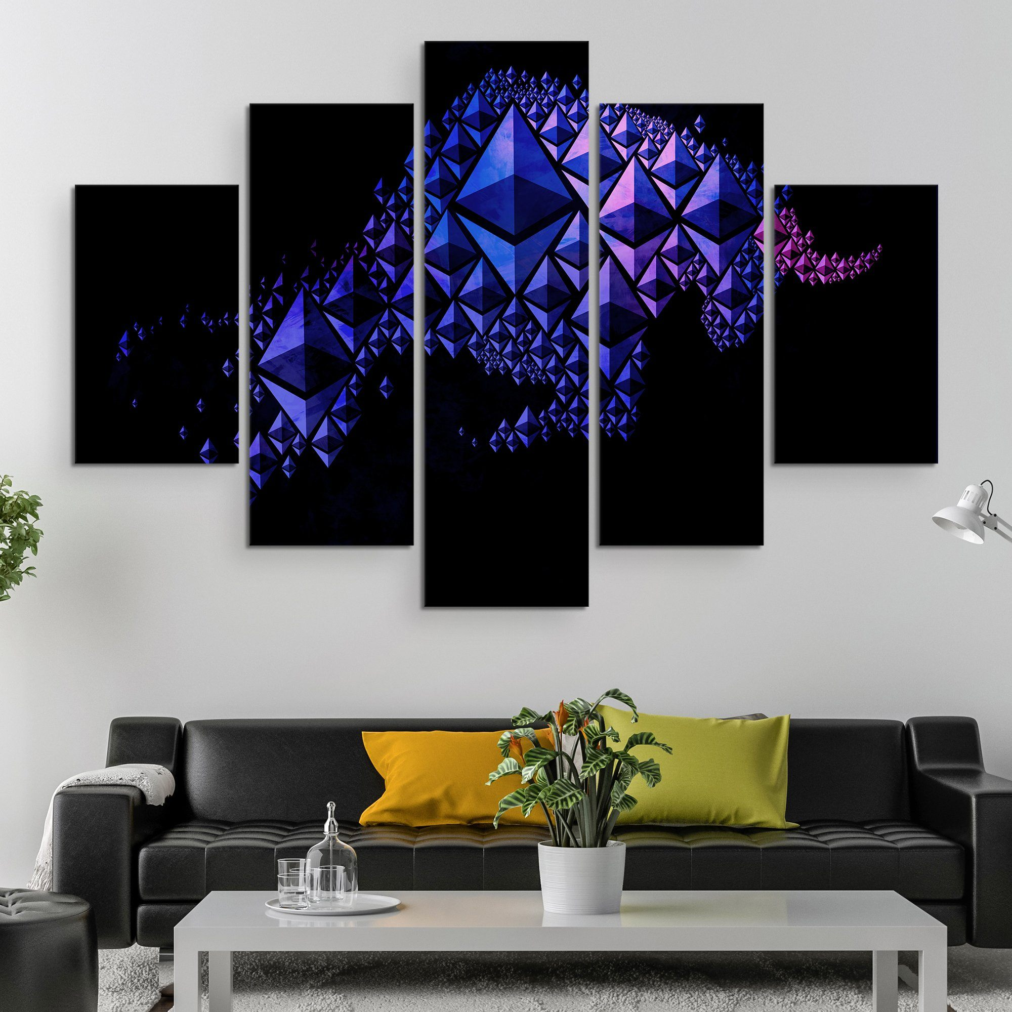 5 piece Ethereum Charging Bull wall art