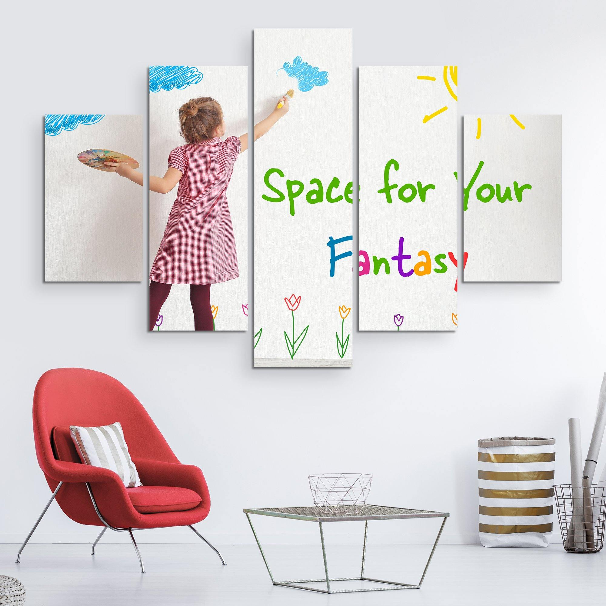 5 piece Kid's Space wall art