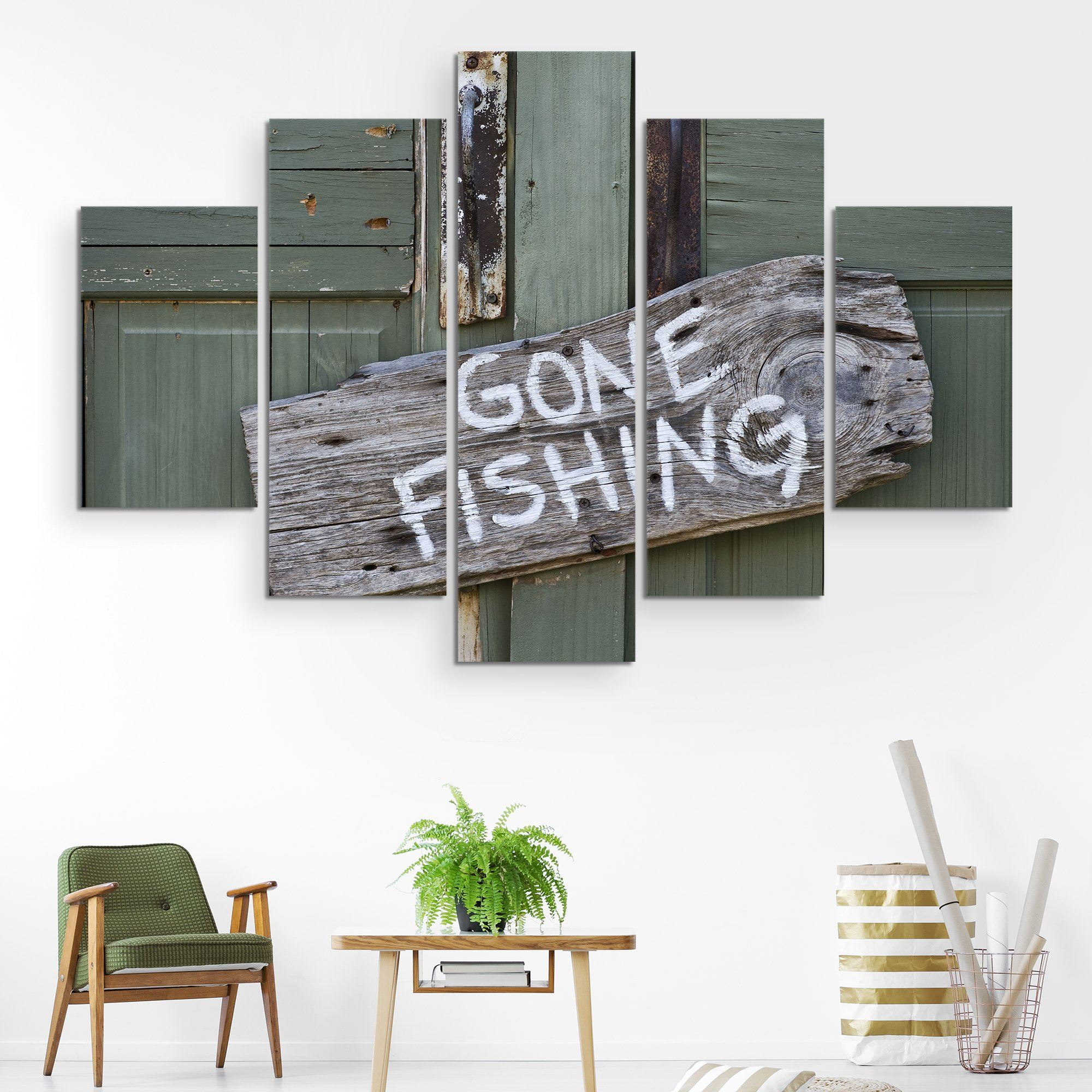 5 piece Gone Fishing wall art