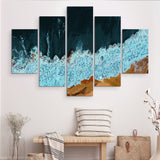 5 piece Waves of Solitude wall art