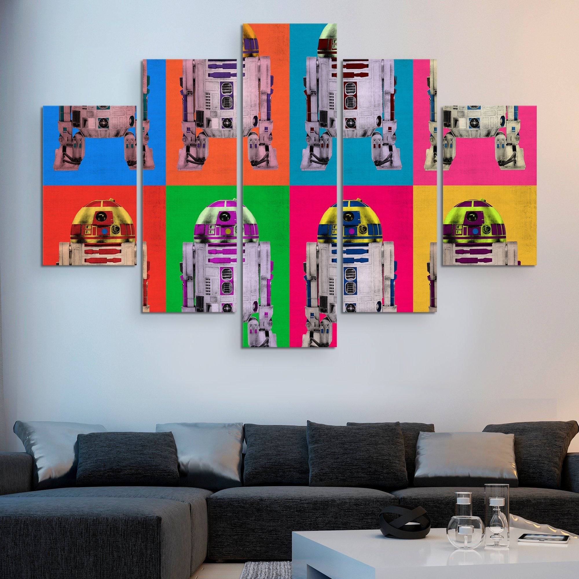 5 piece r2D2 Droid wall art
