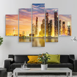 5 piece Dubai Marina Skyline wall art