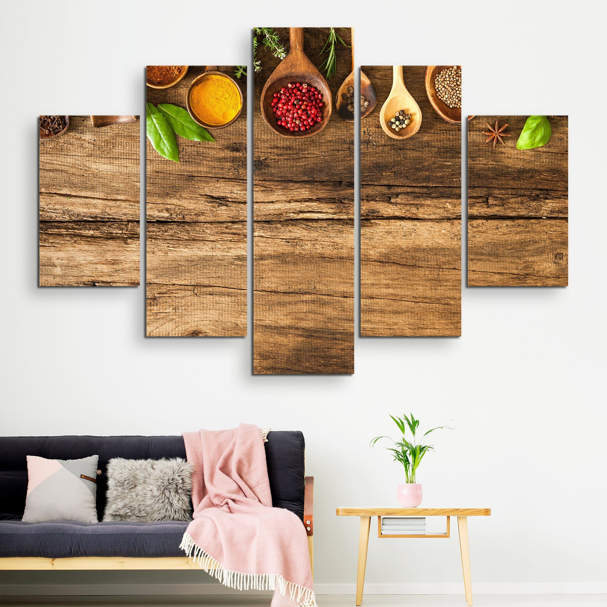 5 piece Various Colorful Spices wall art