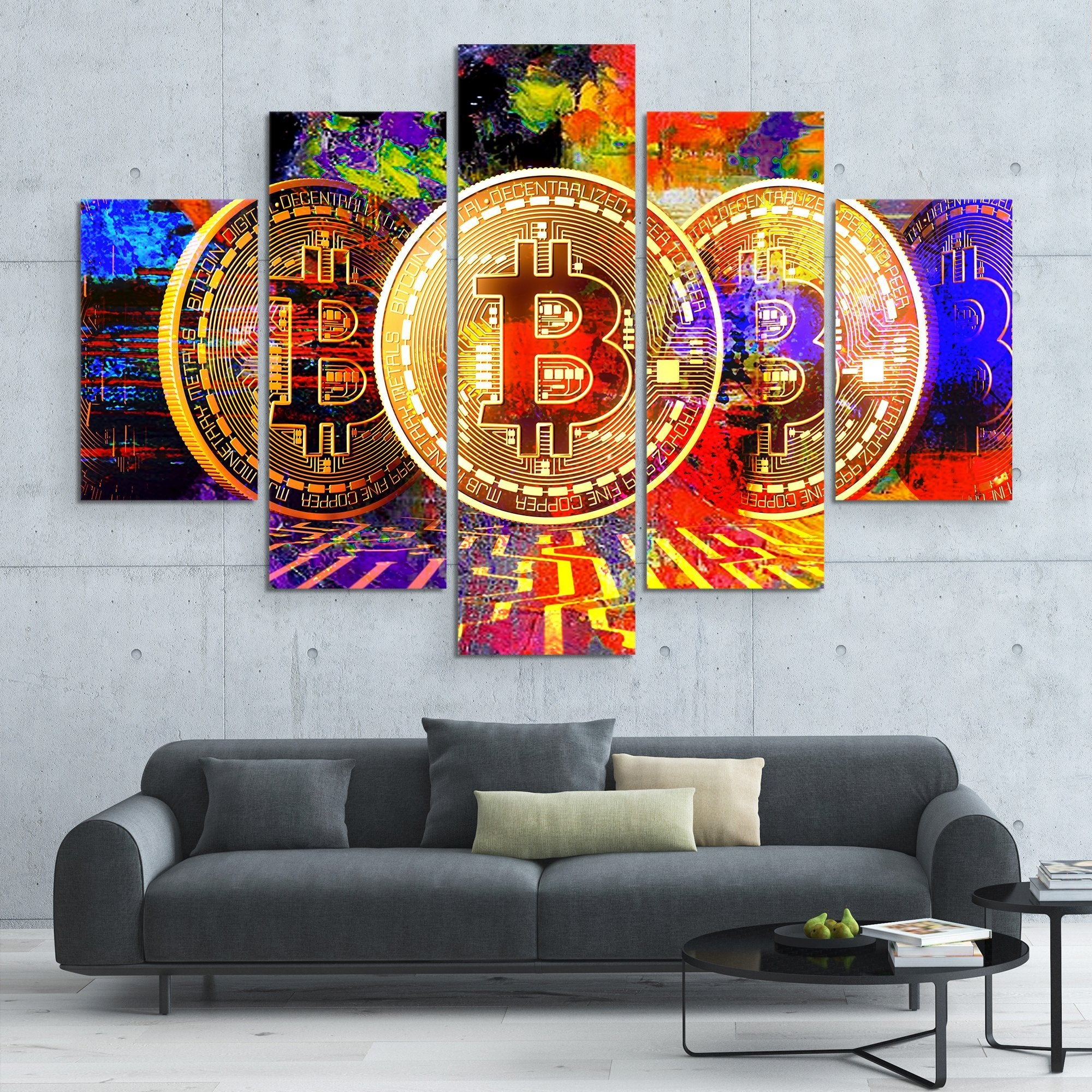 5 piece Bitcoin Power wall art