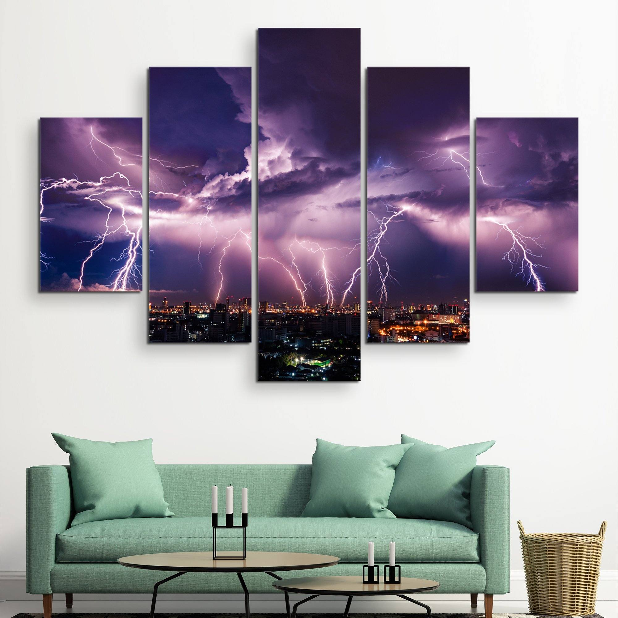 5 piece Lightning Storm Over City wall art