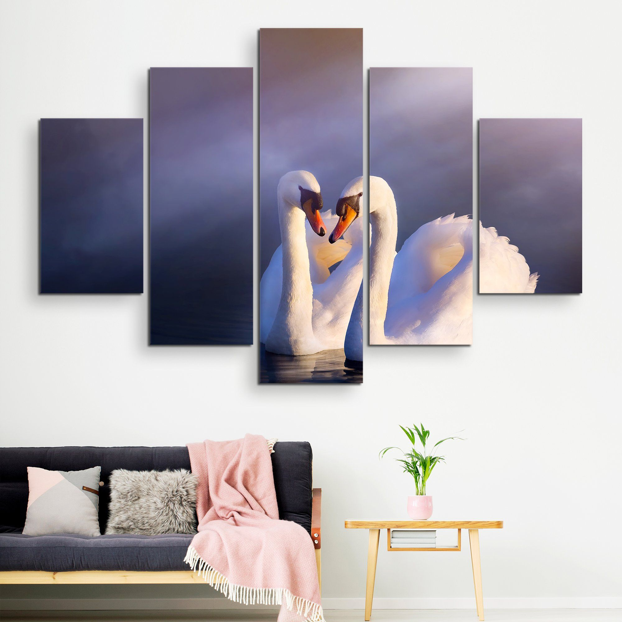 5 piece Swans in Love wall art
