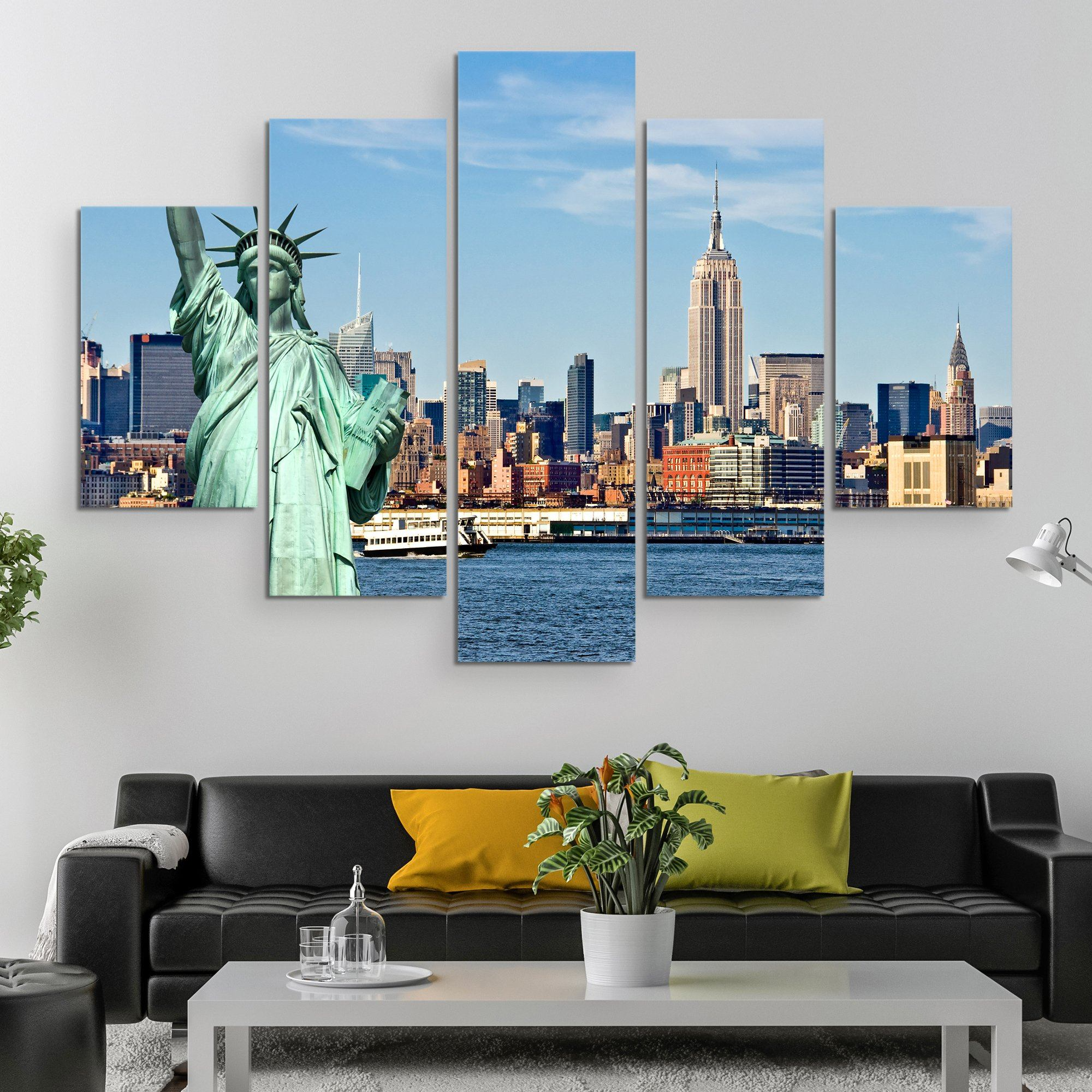 5 piece Liberty in NYC wall art