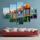 5 piece Colorful Houses wall art