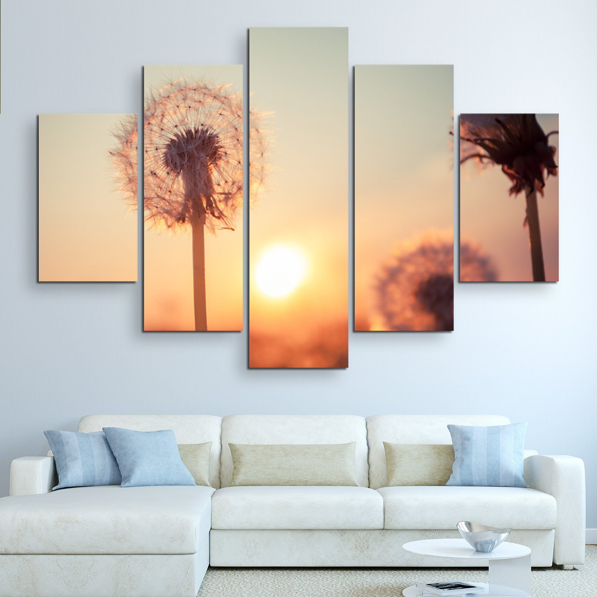 5 piece Dandelions at Sunset wall art