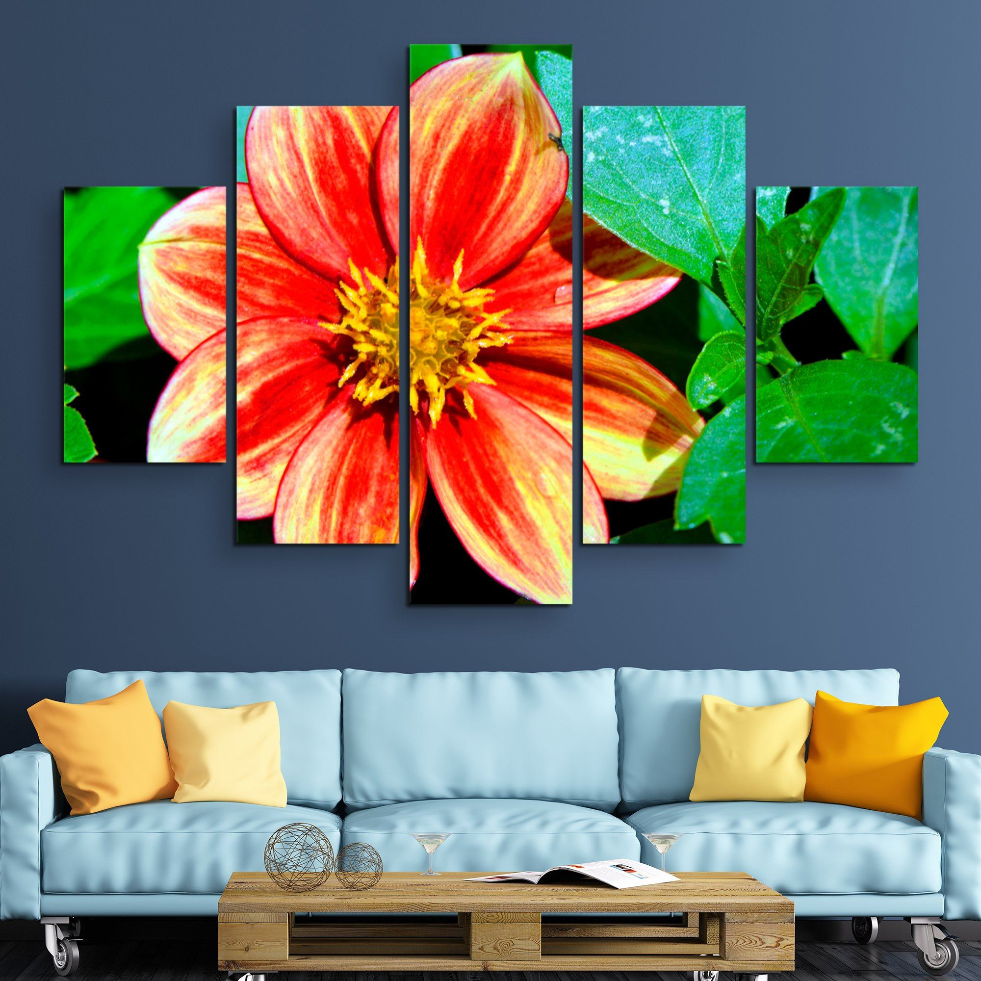 5 piece Dahlia Bishop of Llandaff flower wall art