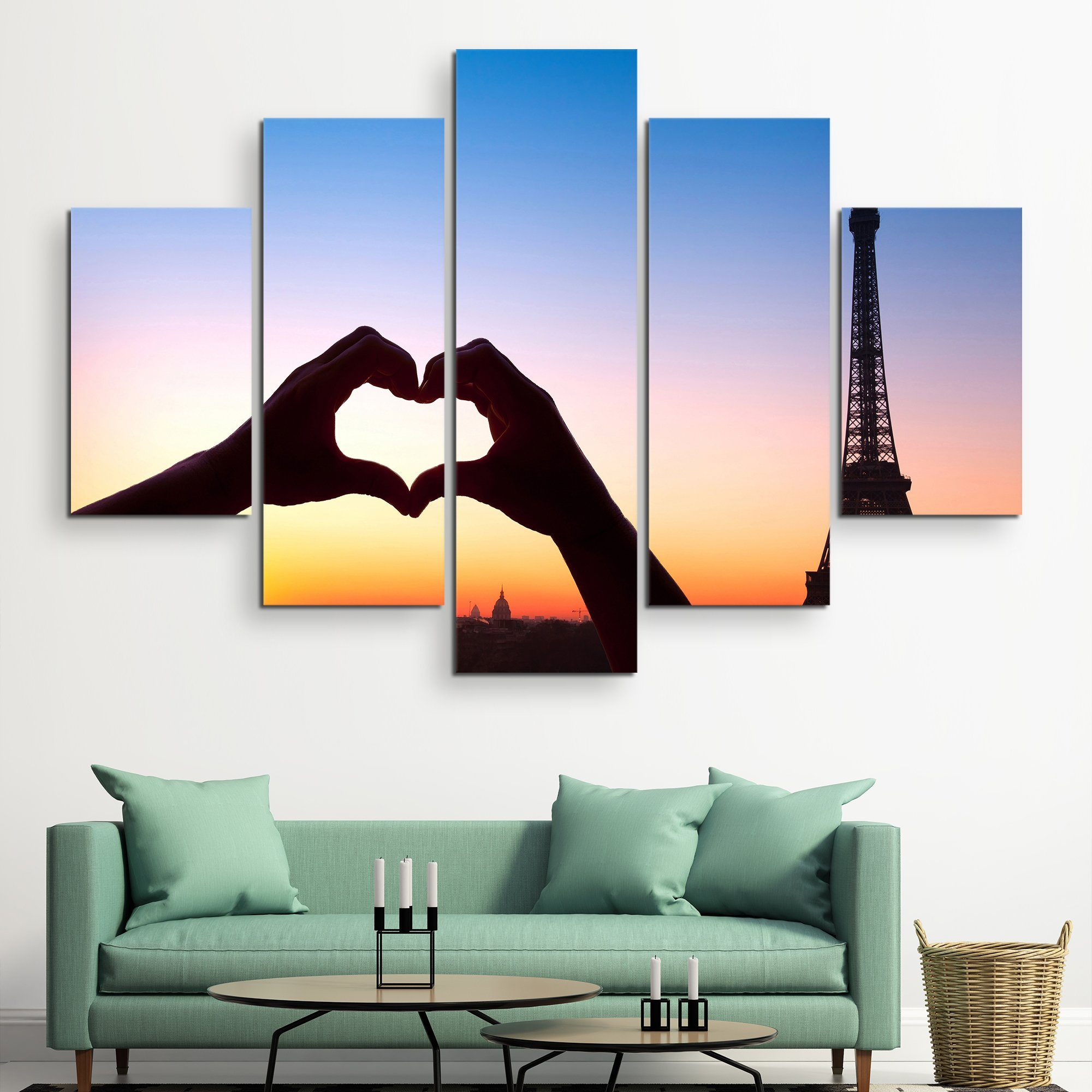 5 piece Love in Paris wall art