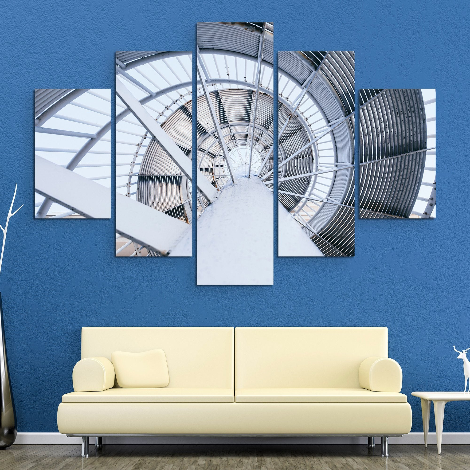 5 piece Spinning Steel Staircase wall art