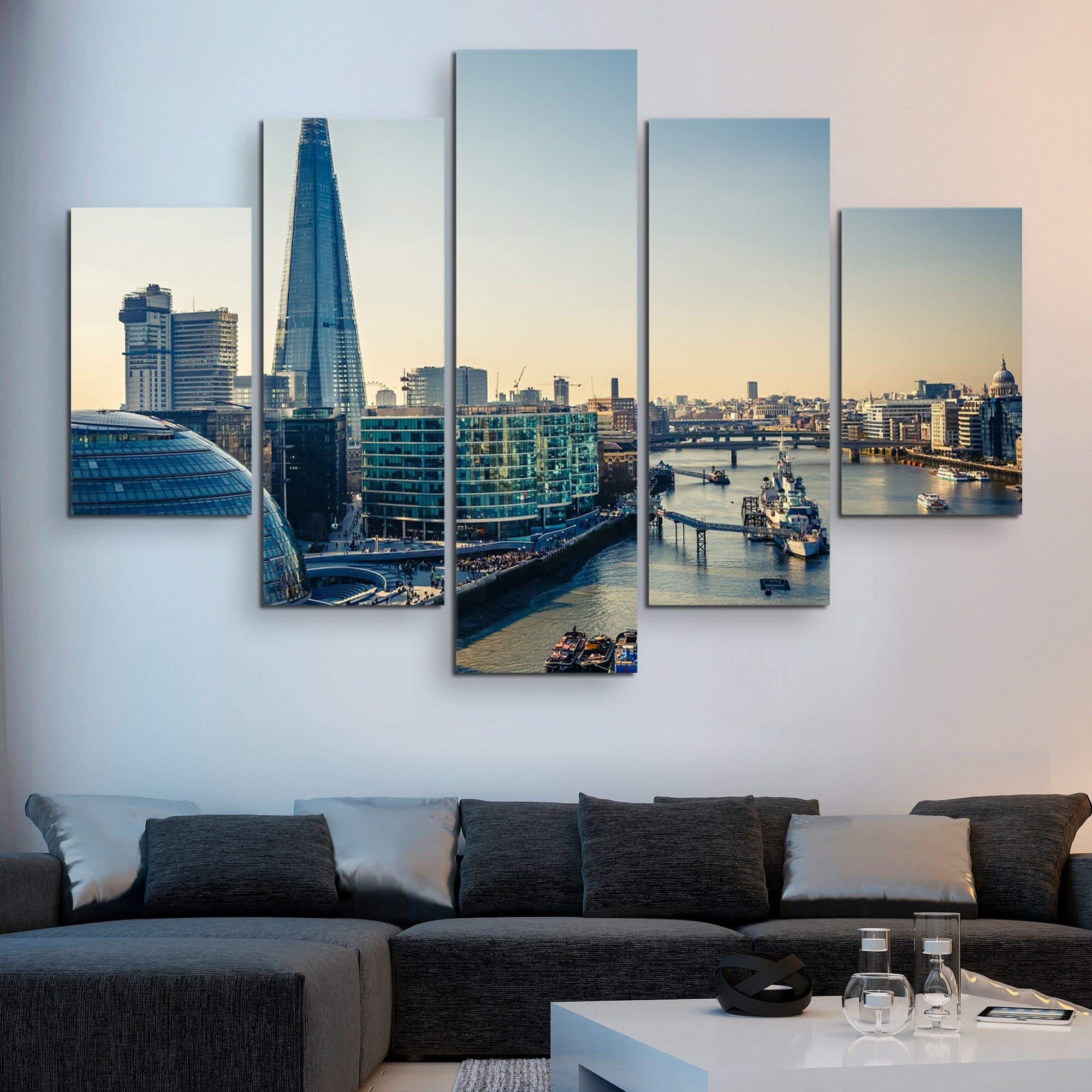 5 piece Thames and London City wall art