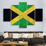 5 piece Jamaican Flag wall art
