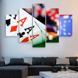 5 piece Poker Aces wall art