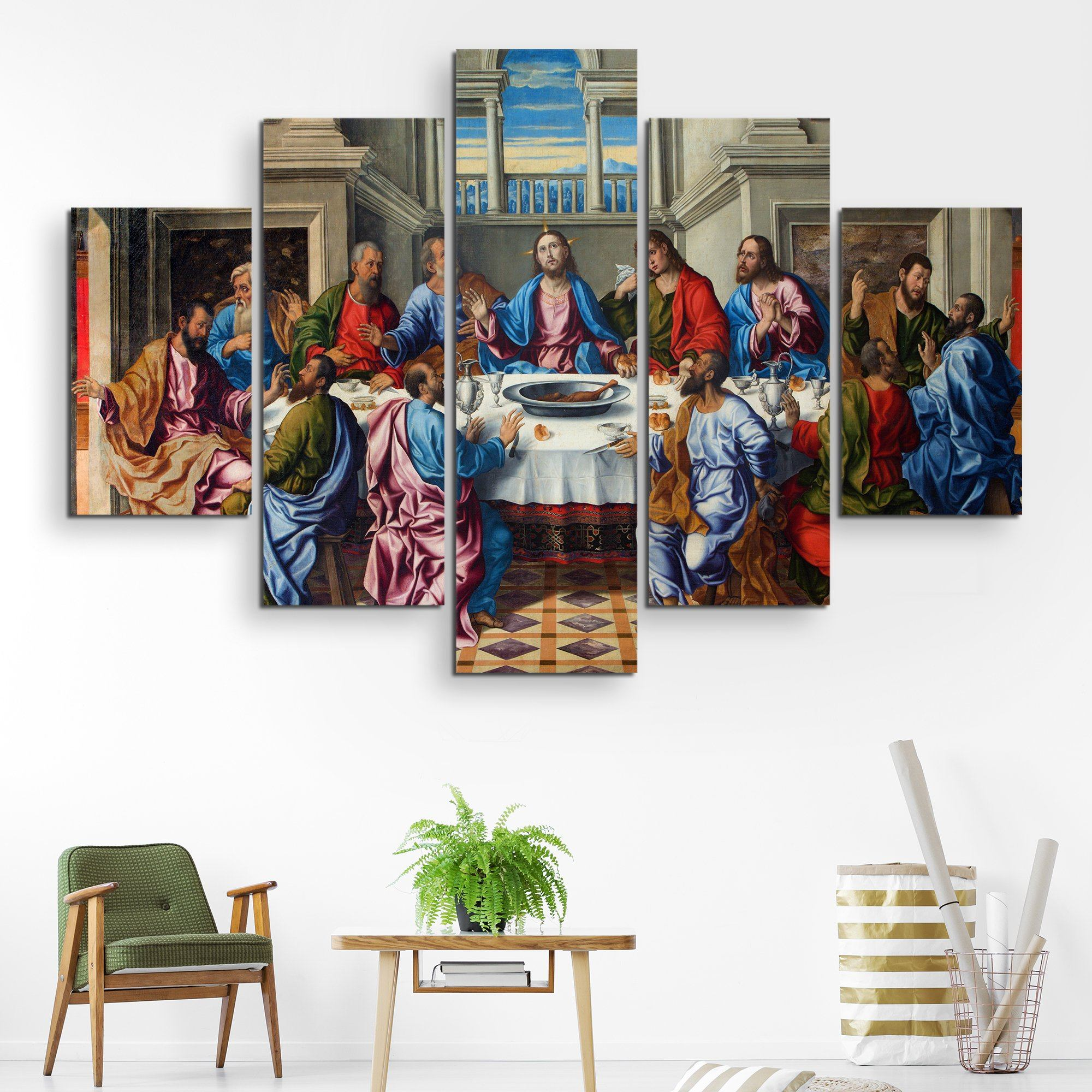 5 piece The Last Supper wall art