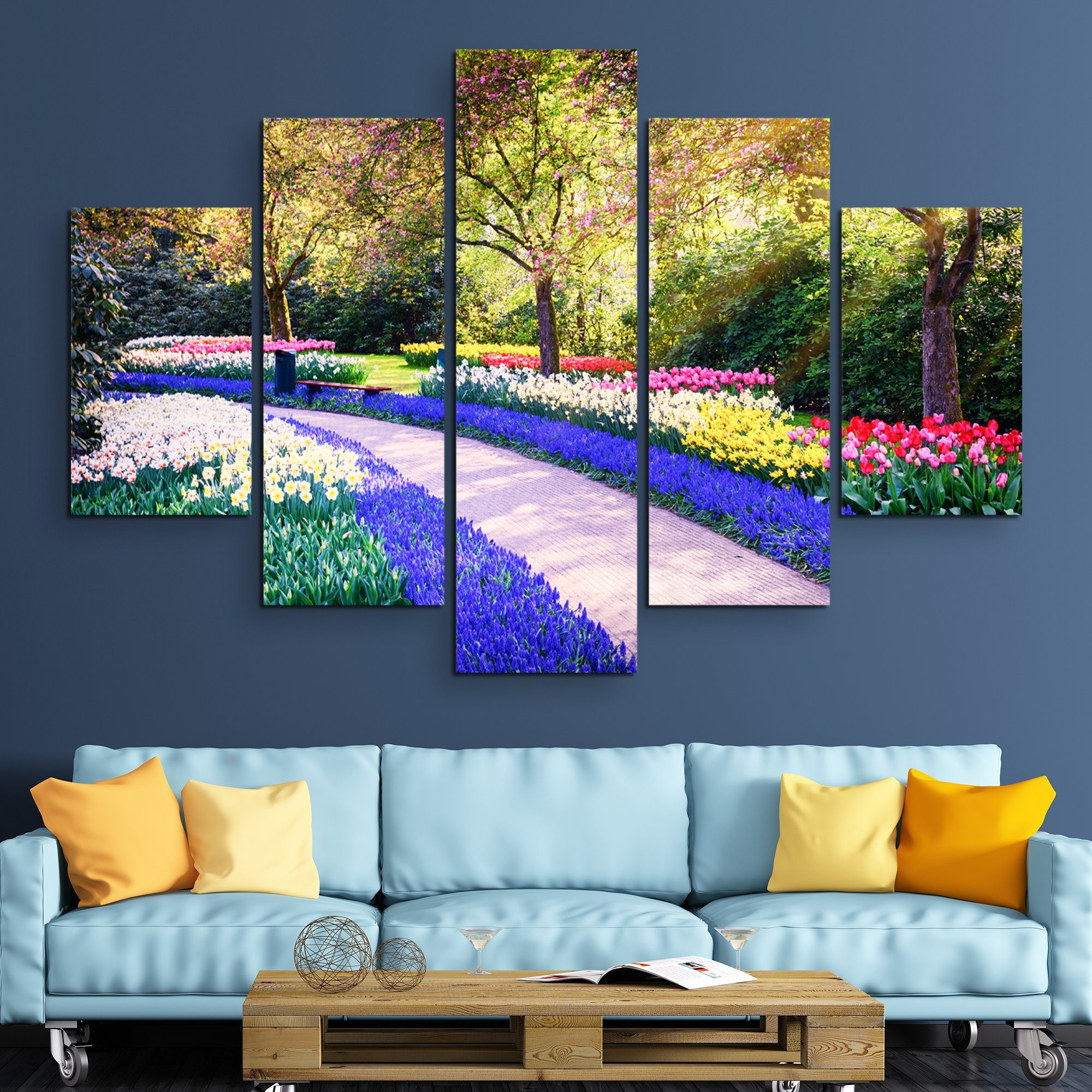 5 piece Flower garden wall art