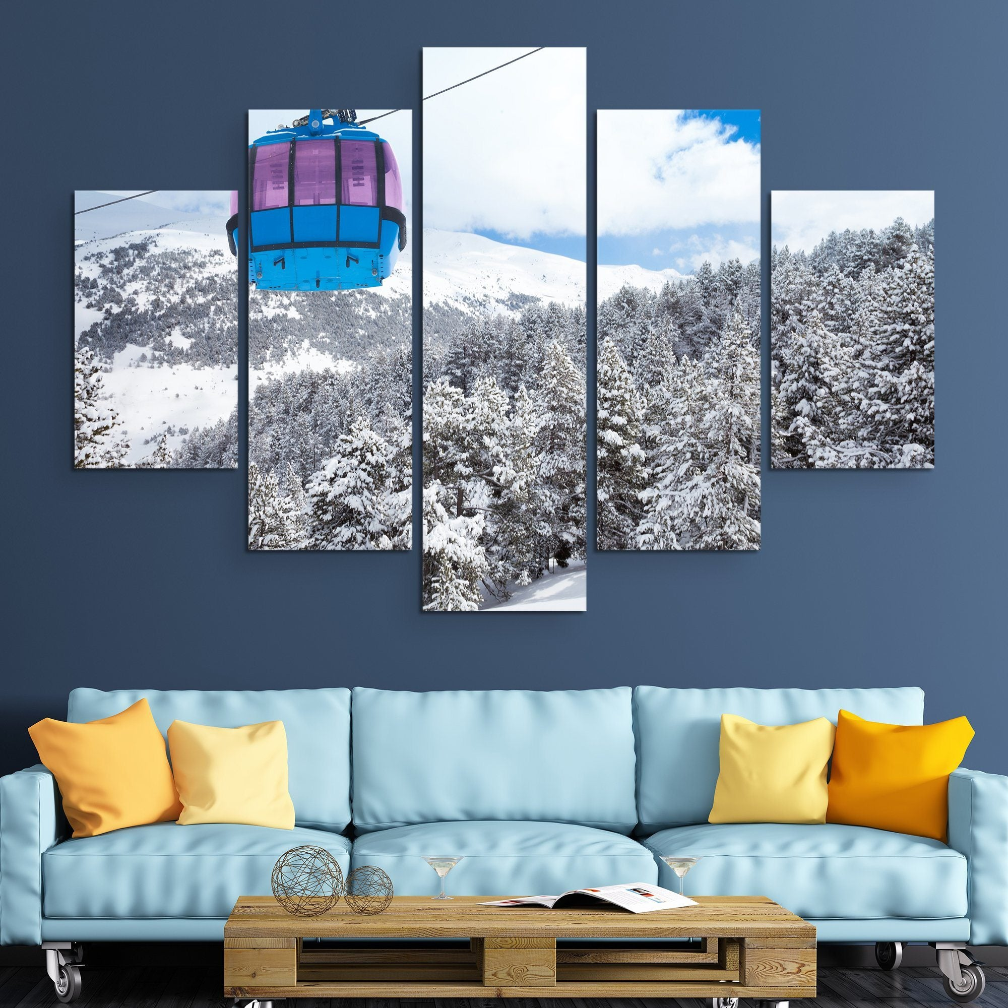 5 piece Cable Car wall art