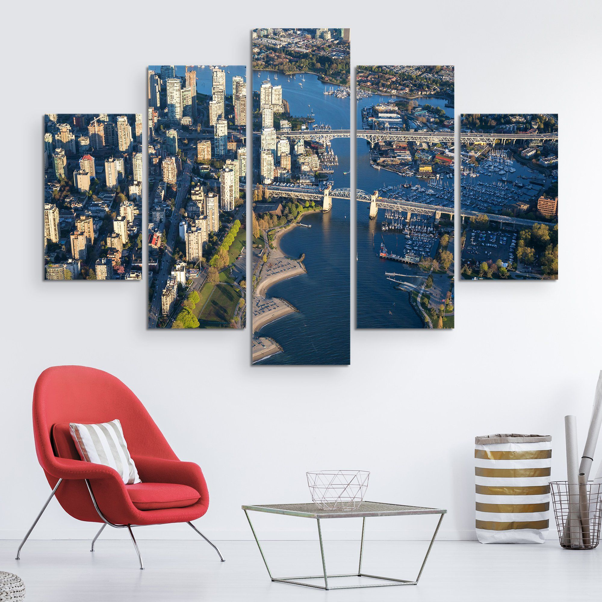 5 piece Canada Downtown View wall art