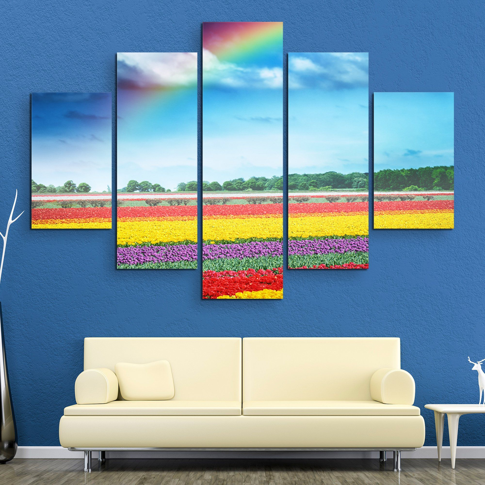 5 piece Rainbow Over Tulips wall art