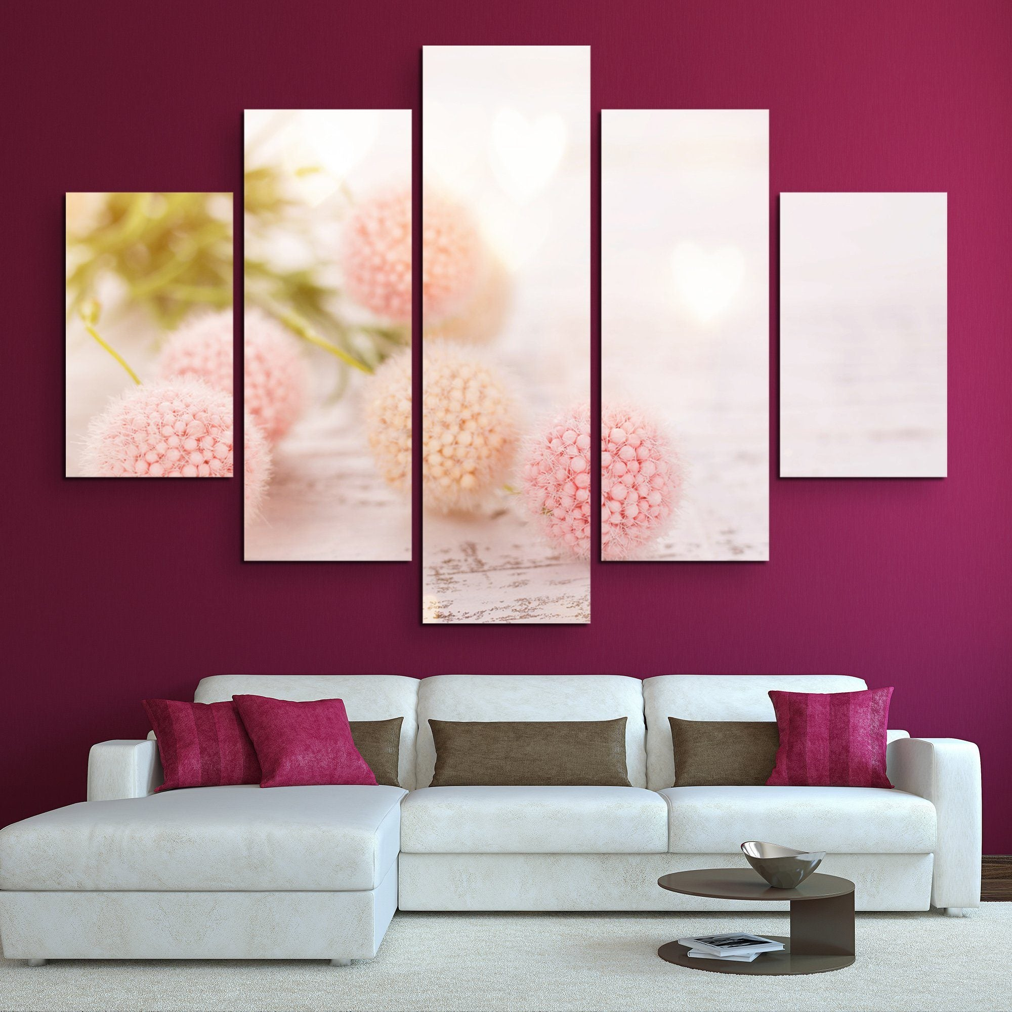 5 piece Flower Ball wall art