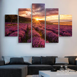 5 piece Lavender Field wall art