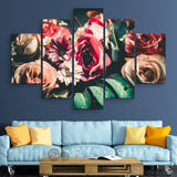 5 piece Retro Floral wall art
