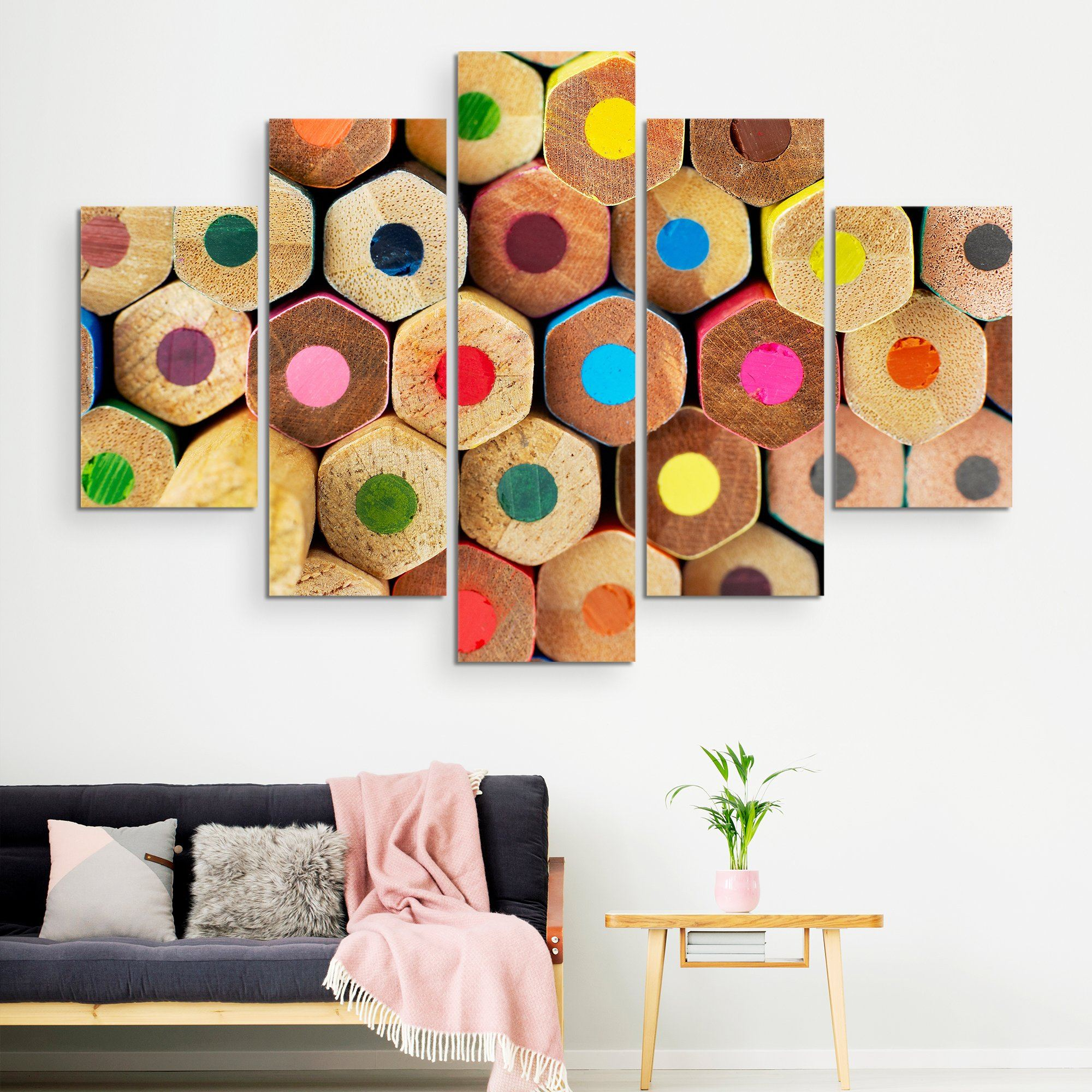 5 piece Colored Pencils wall art