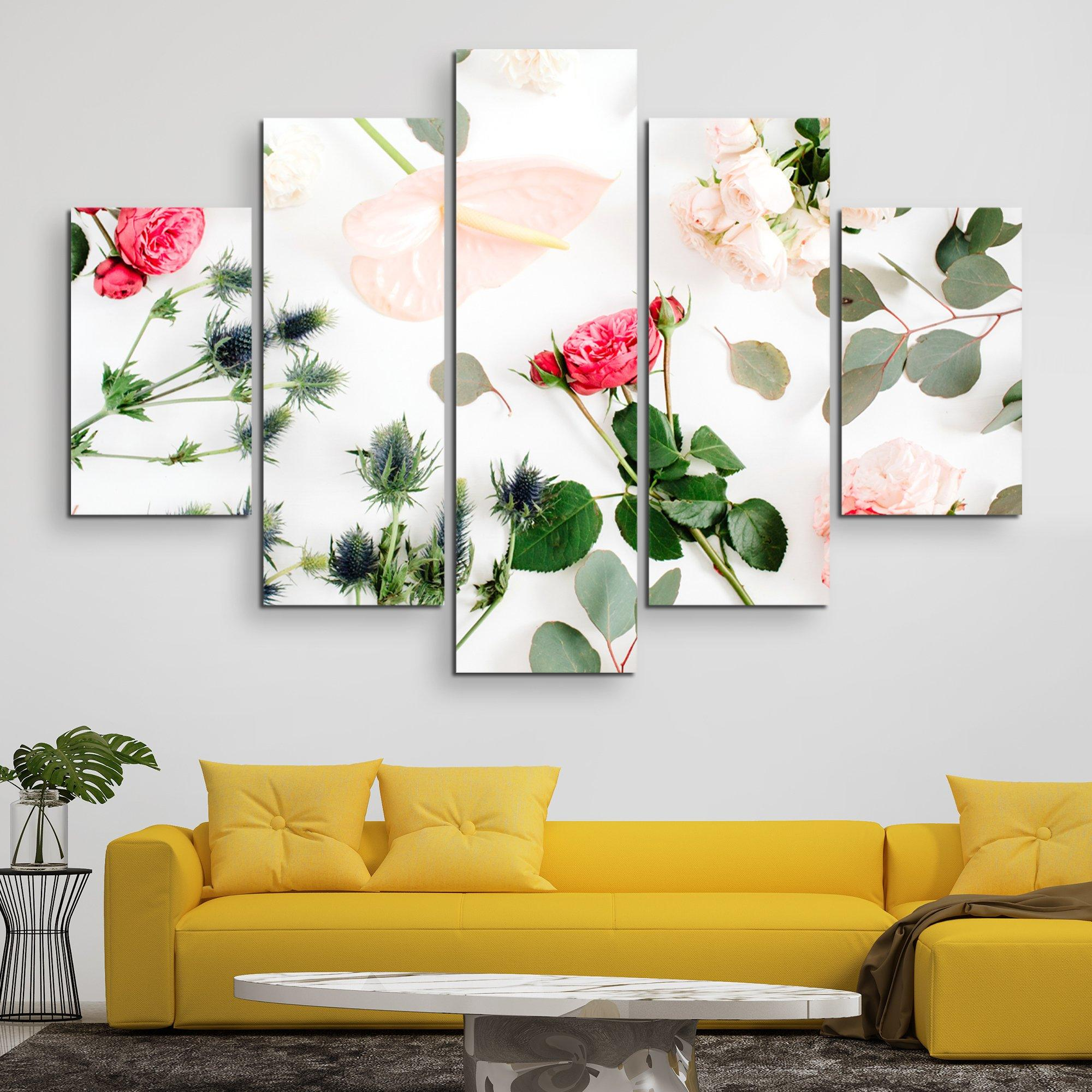 5 piece Floral Spread wall art