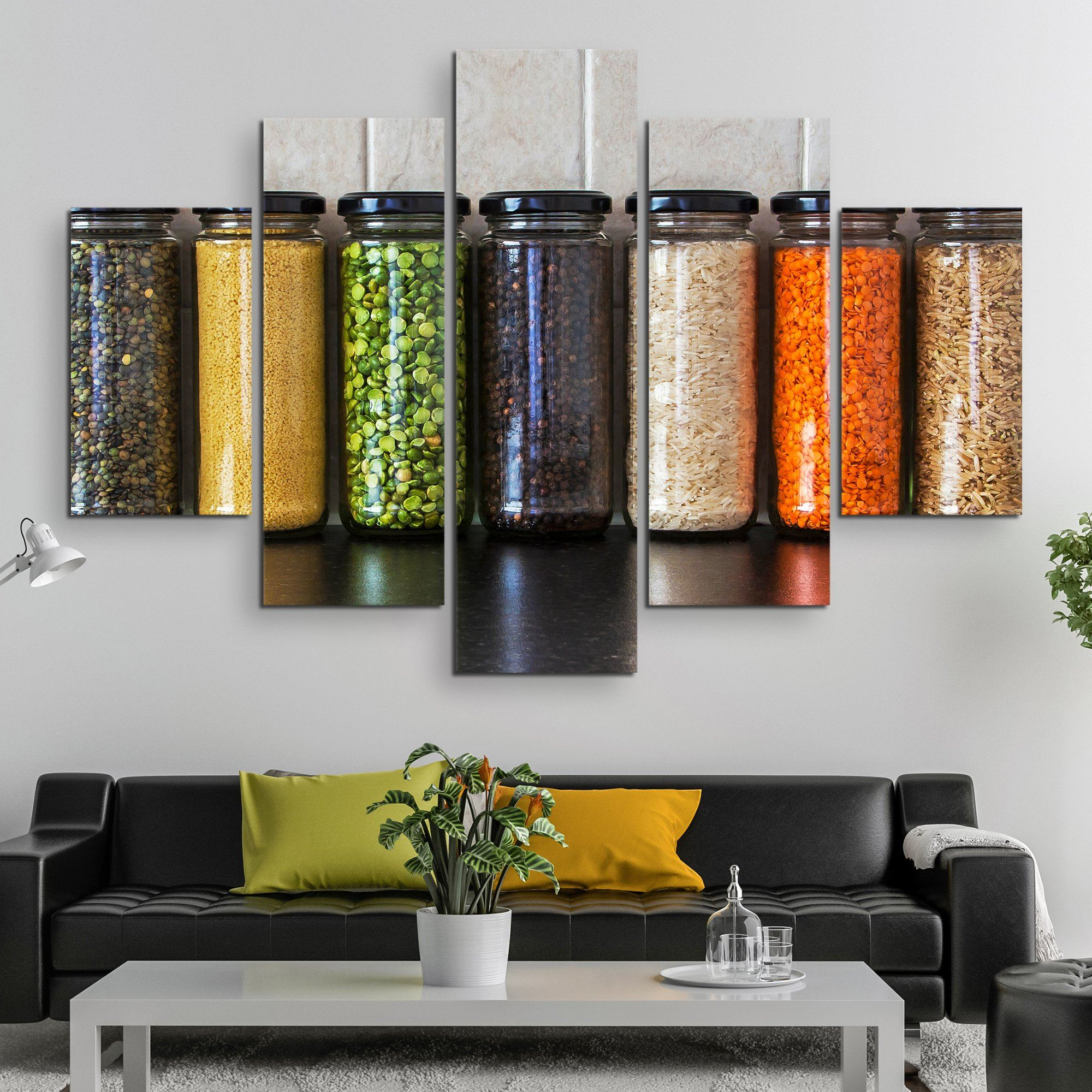 5 piece Seeds and Pulses in Jars wall art