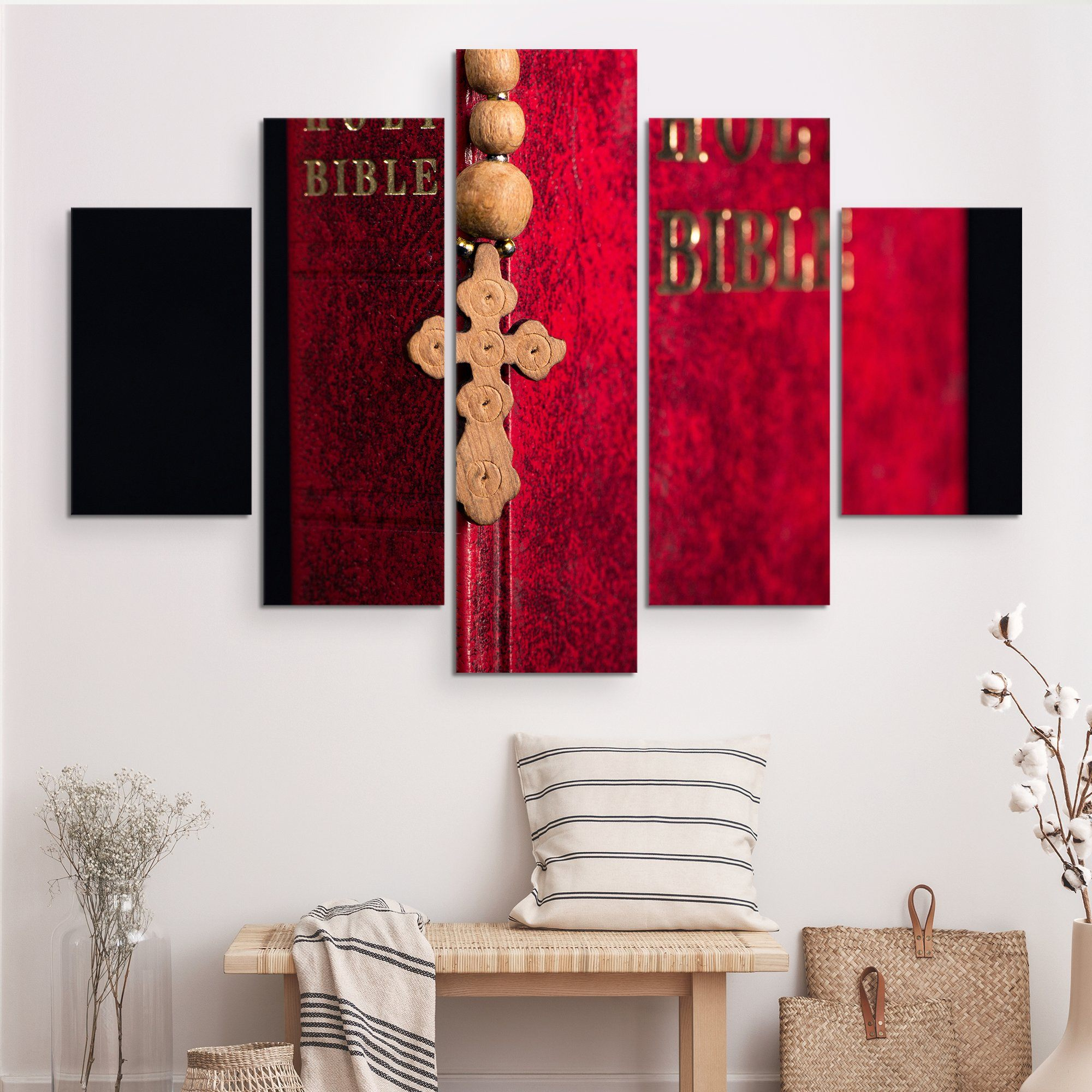 5 piece The Holy Bible wall art