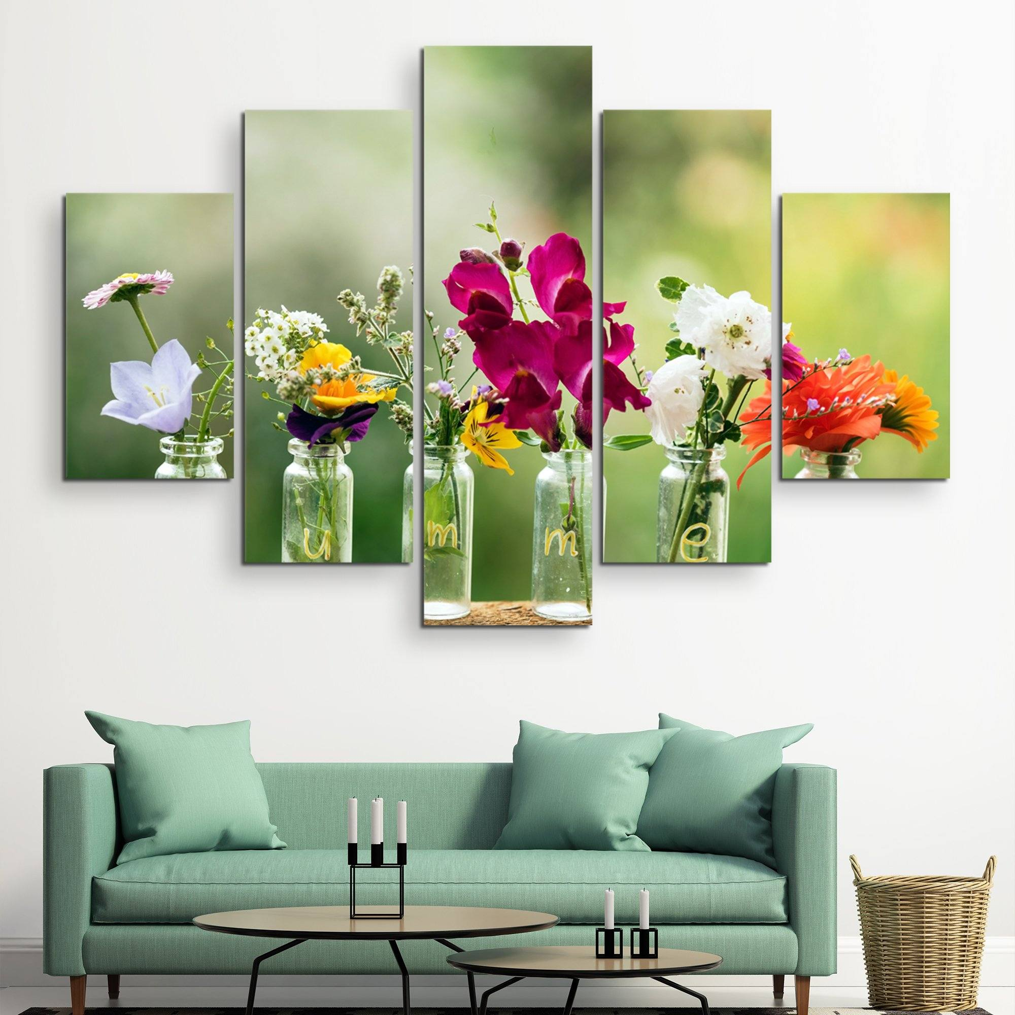 5 piece Summer flowers in bottles wall art