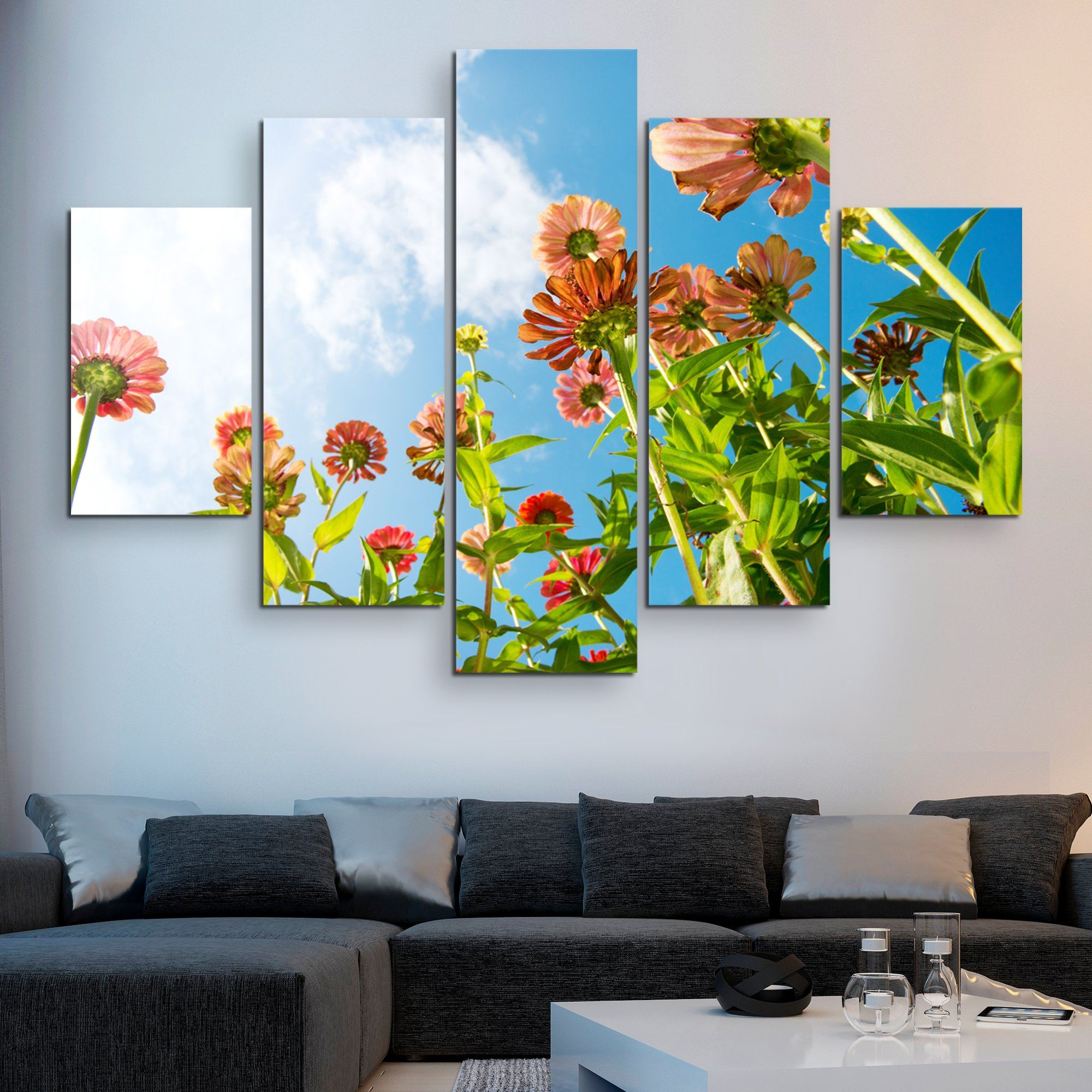 5 piece Flowers Over Blue Sky wall art