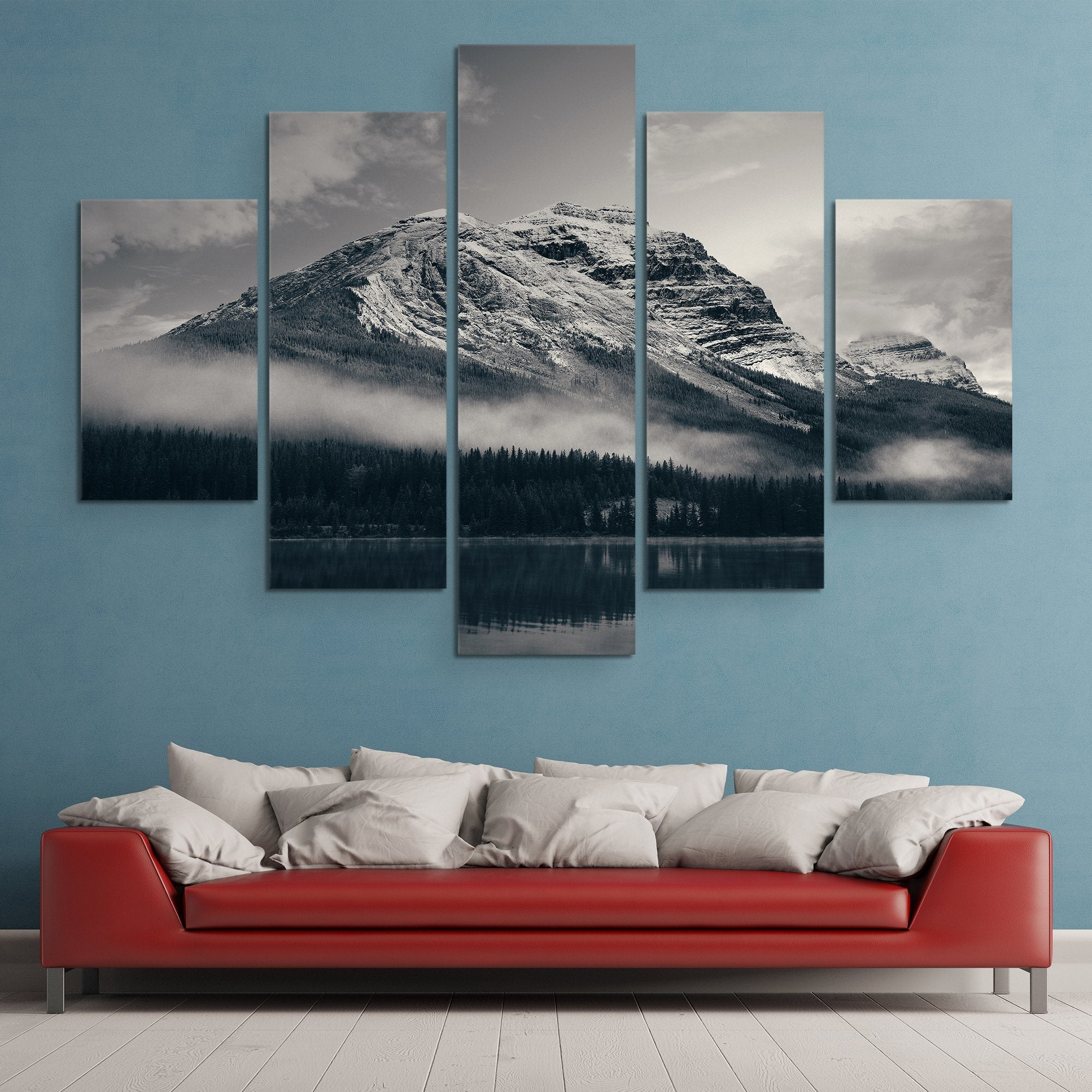Snow Capped Mountain - Banff National Park wall art 5 piece living room art