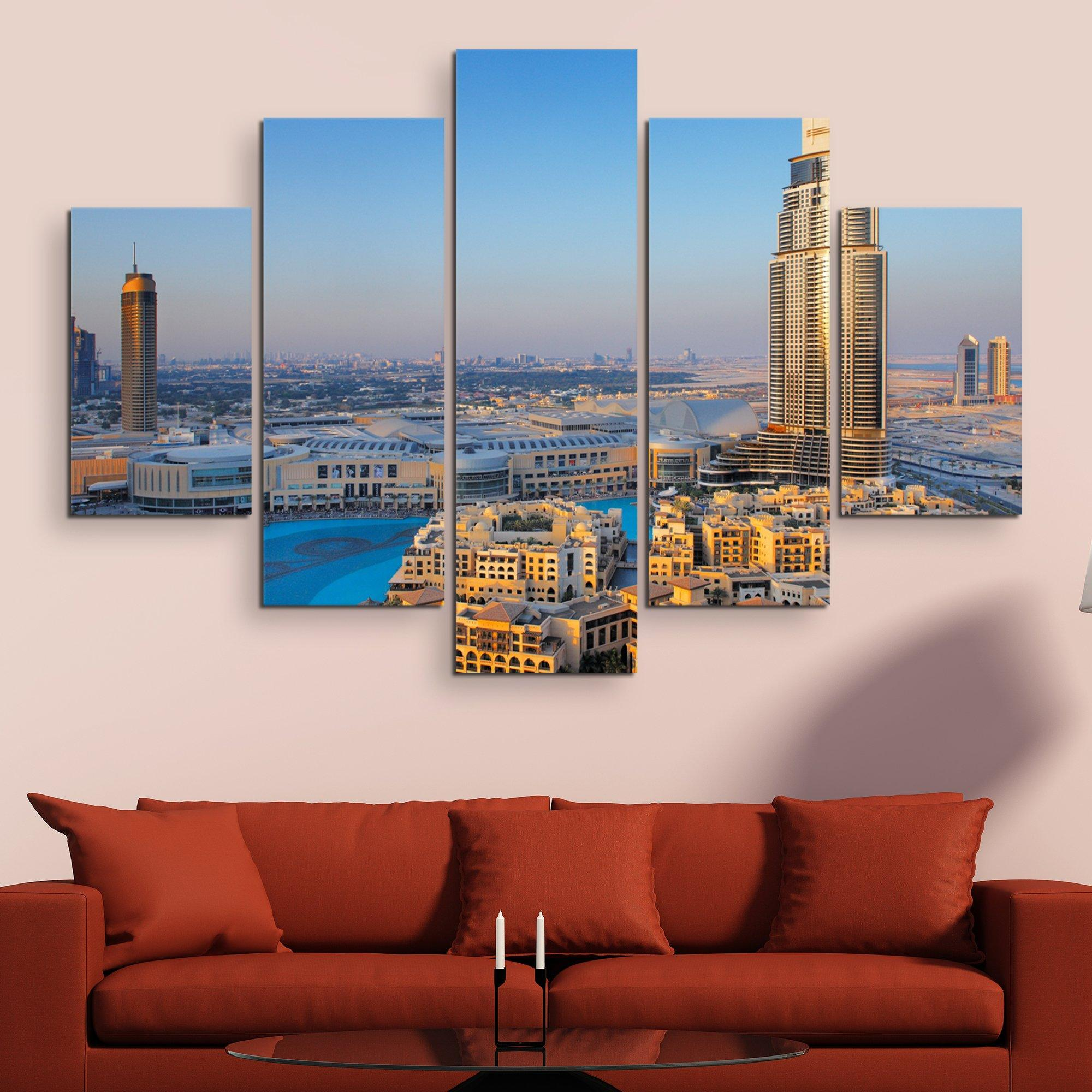 5 piece Downtown Dubai wall art